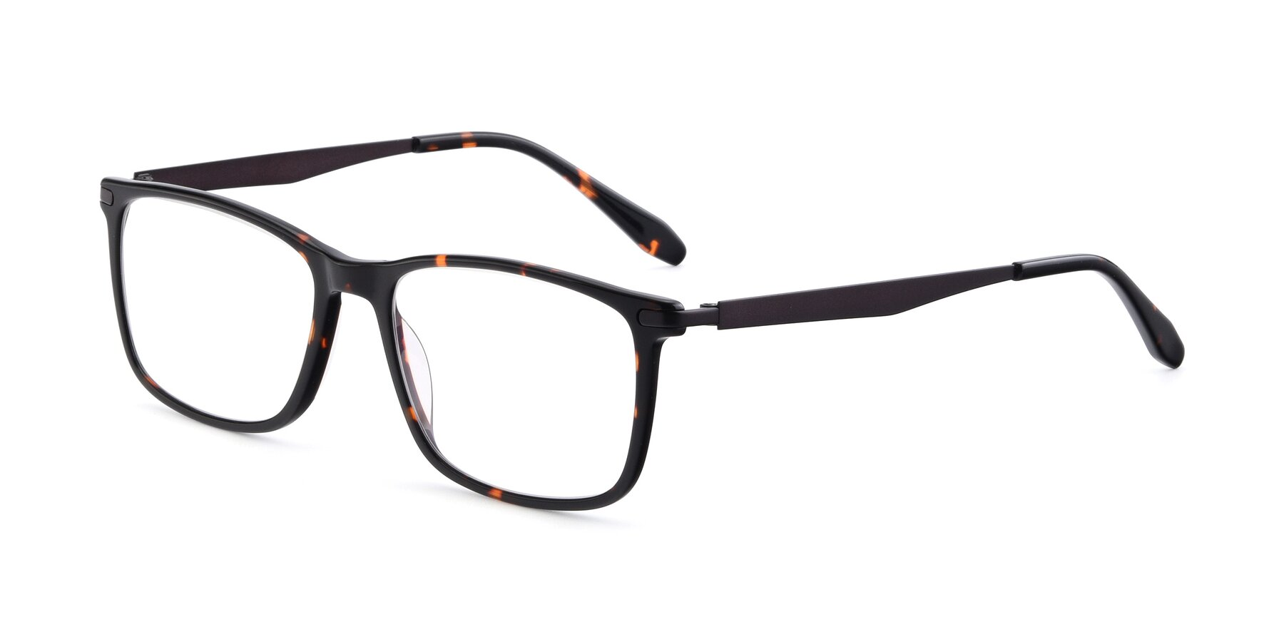 Angle of T002 in Tortoise with Clear Eyeglass Lenses