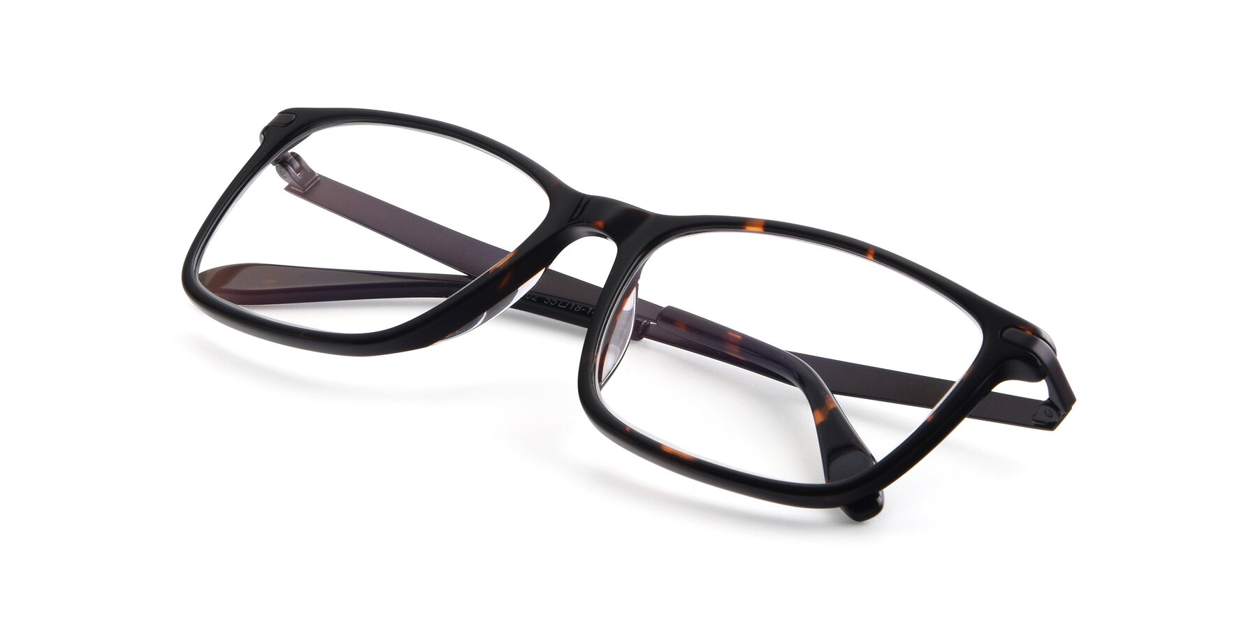 View of T002 in Tortoise with Clear Eyeglass Lenses