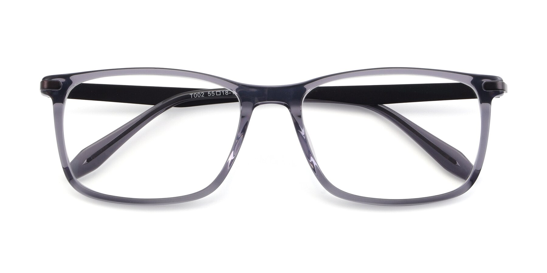 Folded Front of T002 in Transparent Grey with Clear Blue Light Blocking Lenses