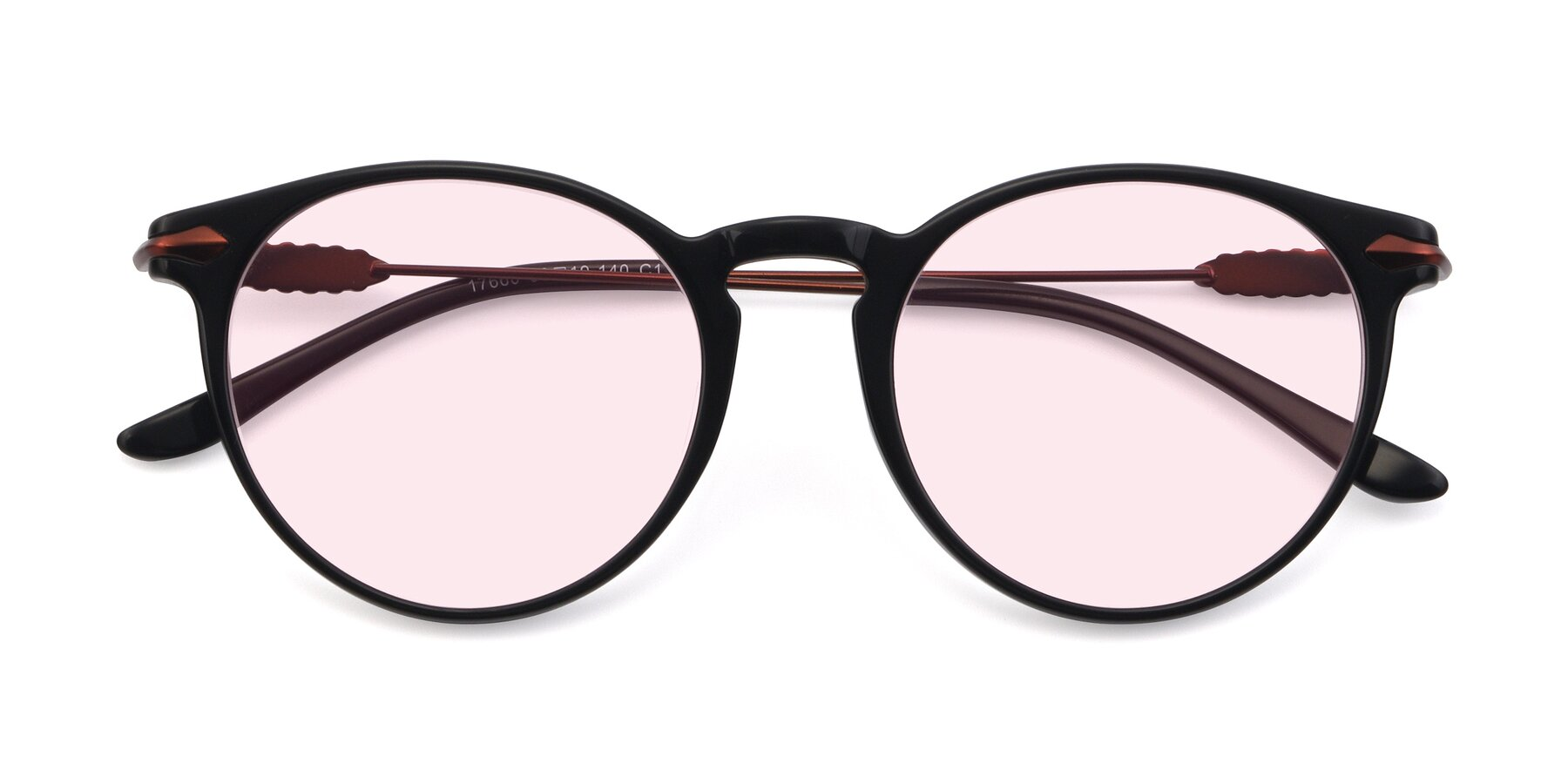 Folded Front of 17660 in Black with Light Pink Tinted Lenses