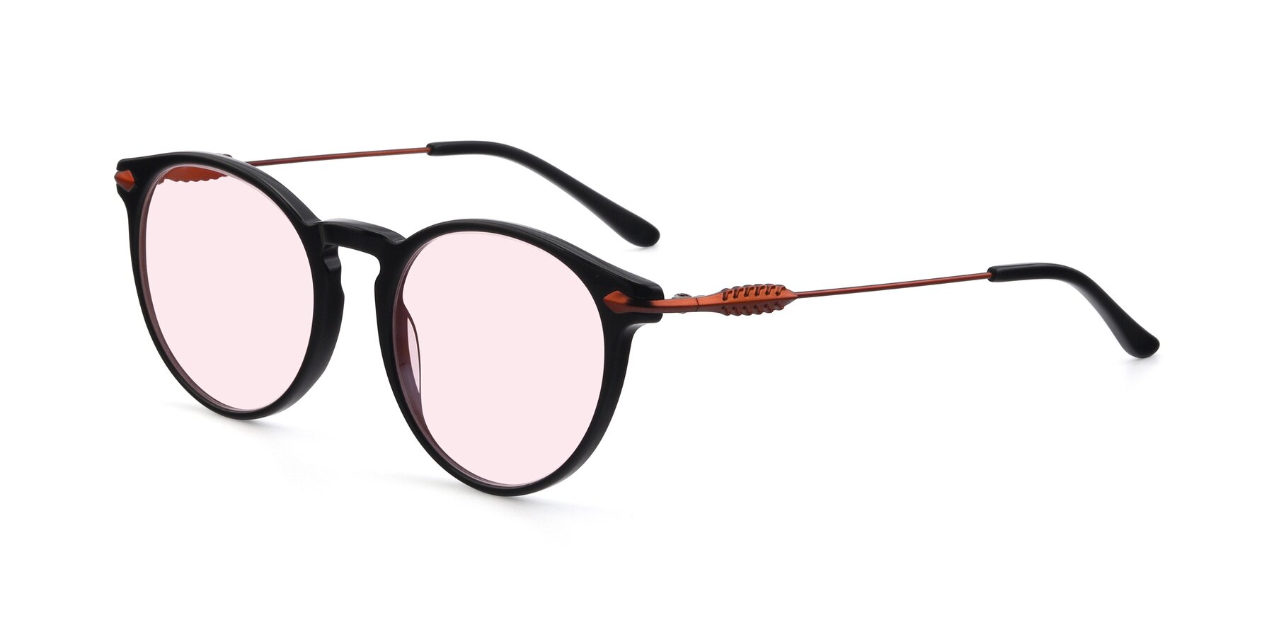 Angle of 17660 in Black with Light Pink Tinted Lenses