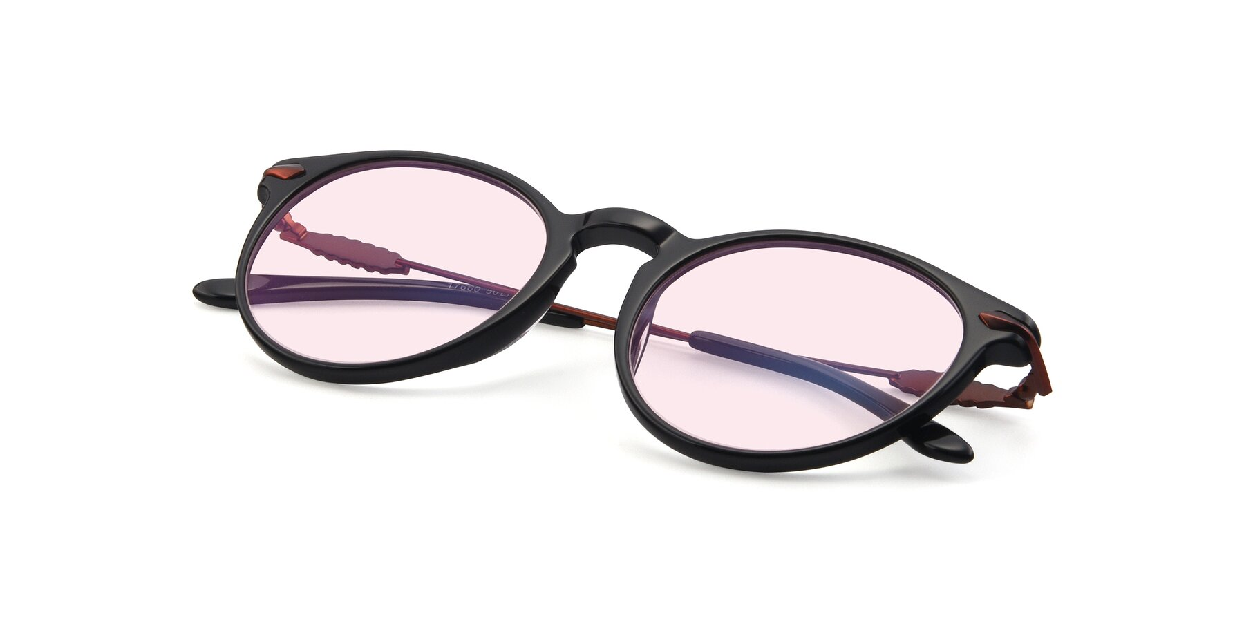 View of 17660 in Black with Light Pink Tinted Lenses