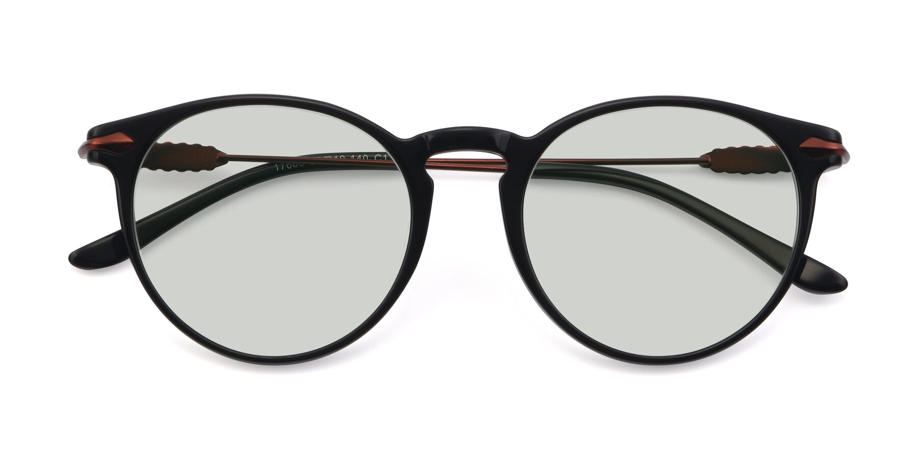 Folded Front of 17660 in Black with Light Green Tinted Lenses