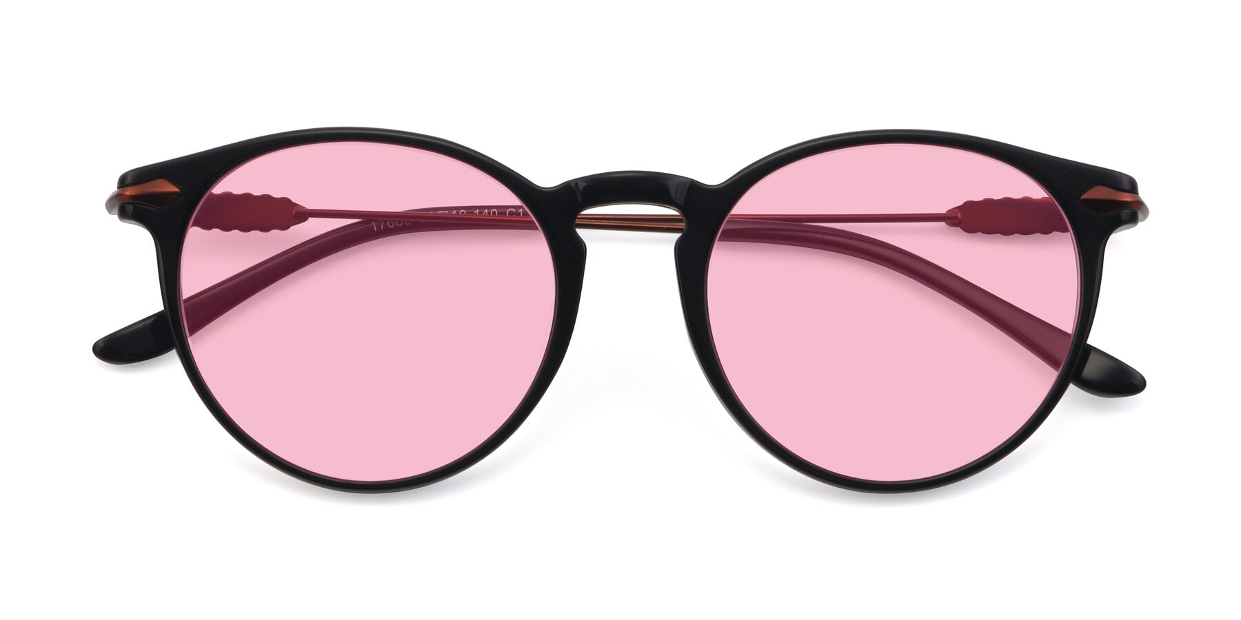 Folded Front of 17660 in Black with Medium Pink Tinted Lenses