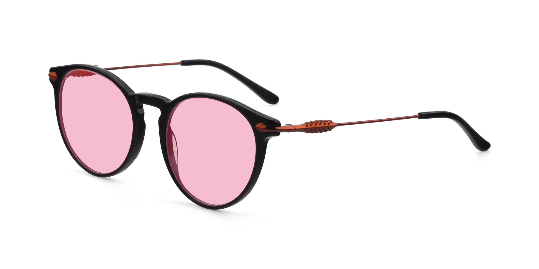 Angle of 17660 in Black with Medium Pink Tinted Lenses