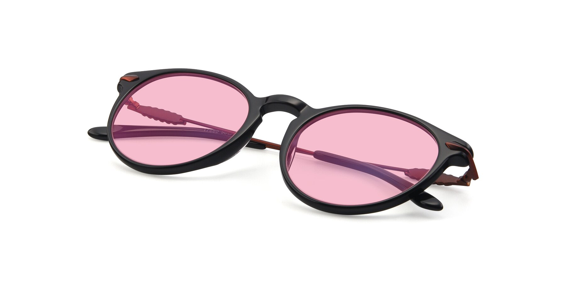 View of 17660 in Black with Medium Pink Tinted Lenses