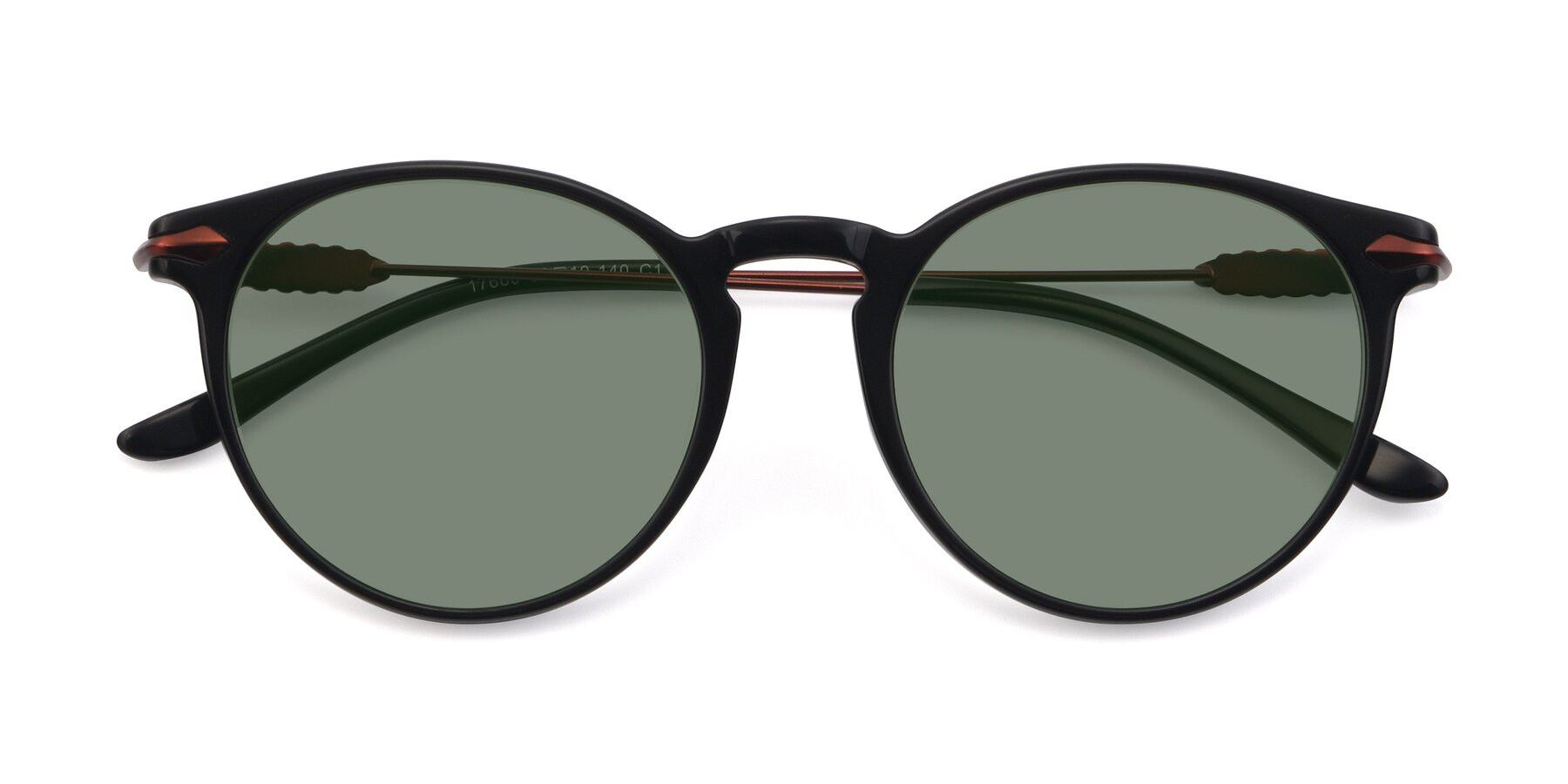 Folded Front of 17660 in Black with Medium Green Tinted Lenses