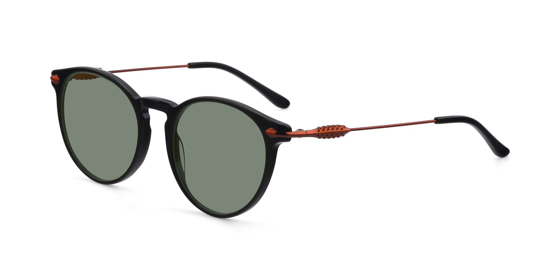 Angle of 17660 in Black with Medium Green Tinted Lenses