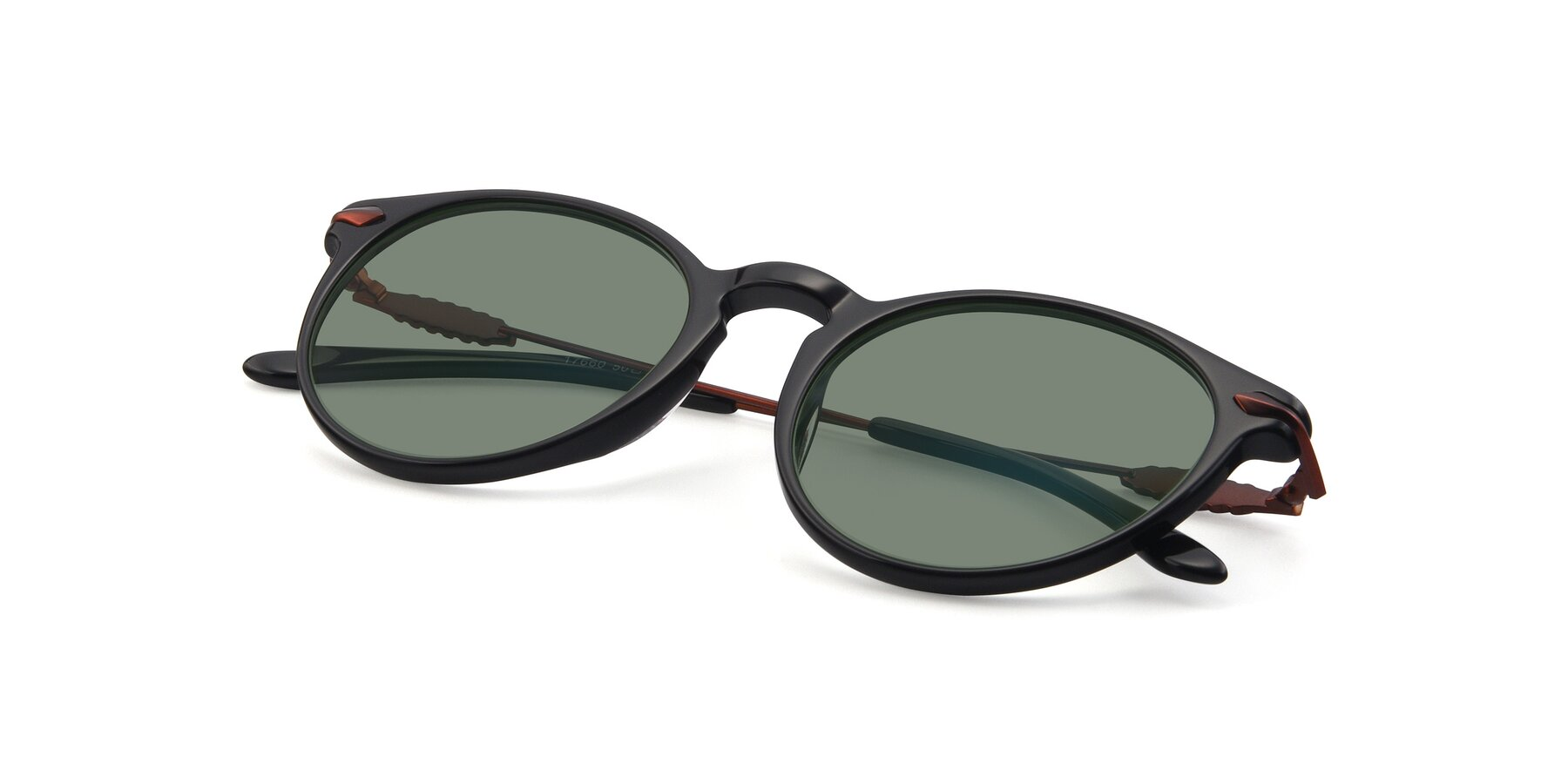 View of 17660 in Black with Medium Green Tinted Lenses