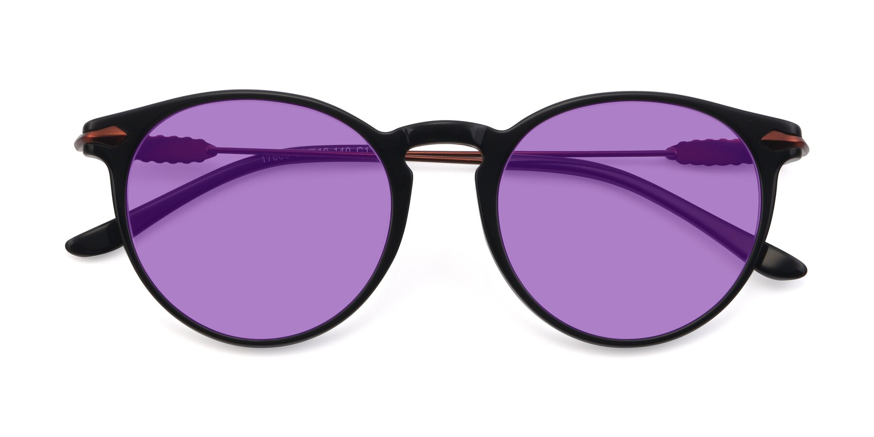 Folded Front of 17660 in Black with Medium Purple Tinted Lenses