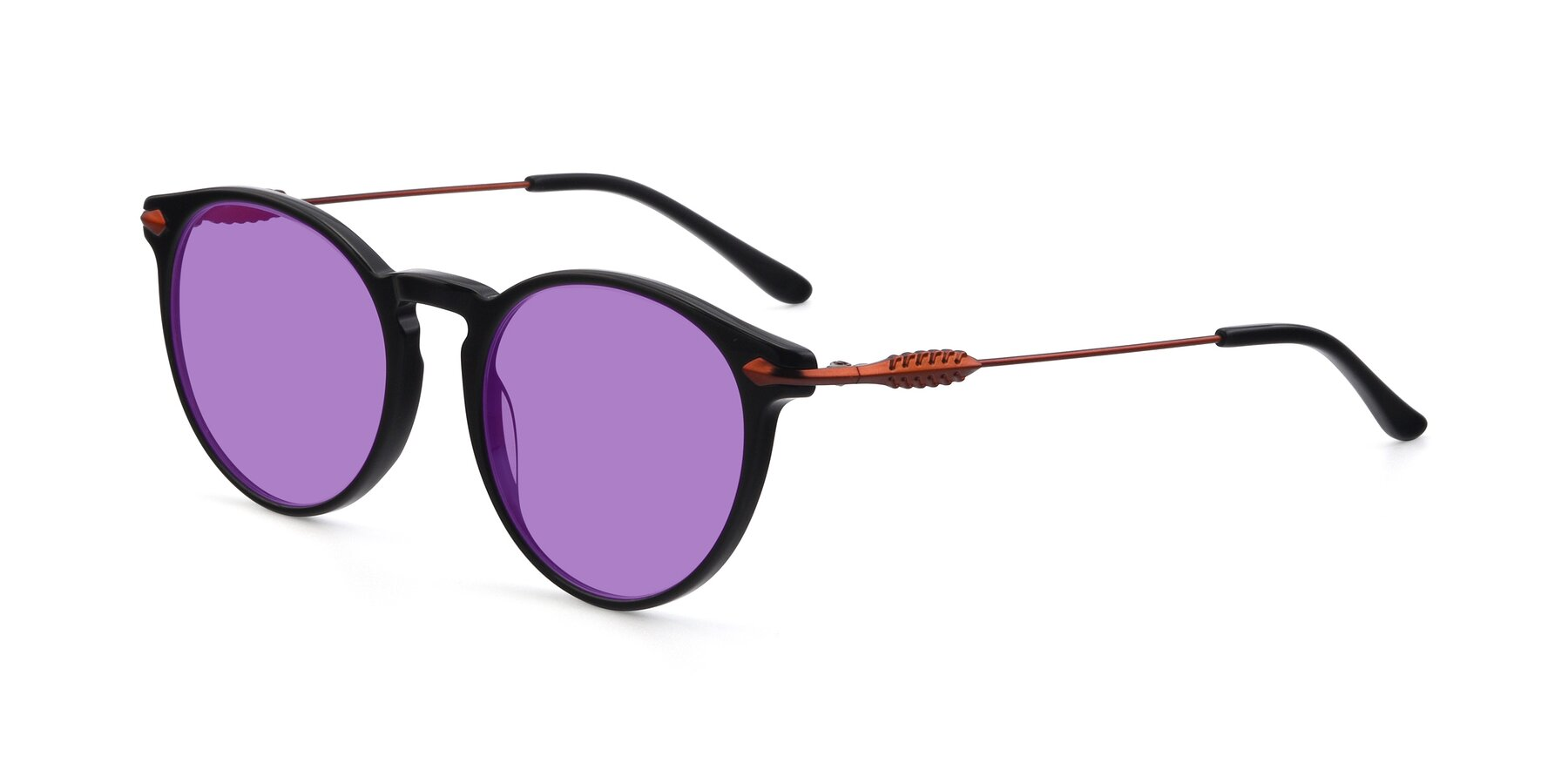 Angle of 17660 in Black with Medium Purple Tinted Lenses