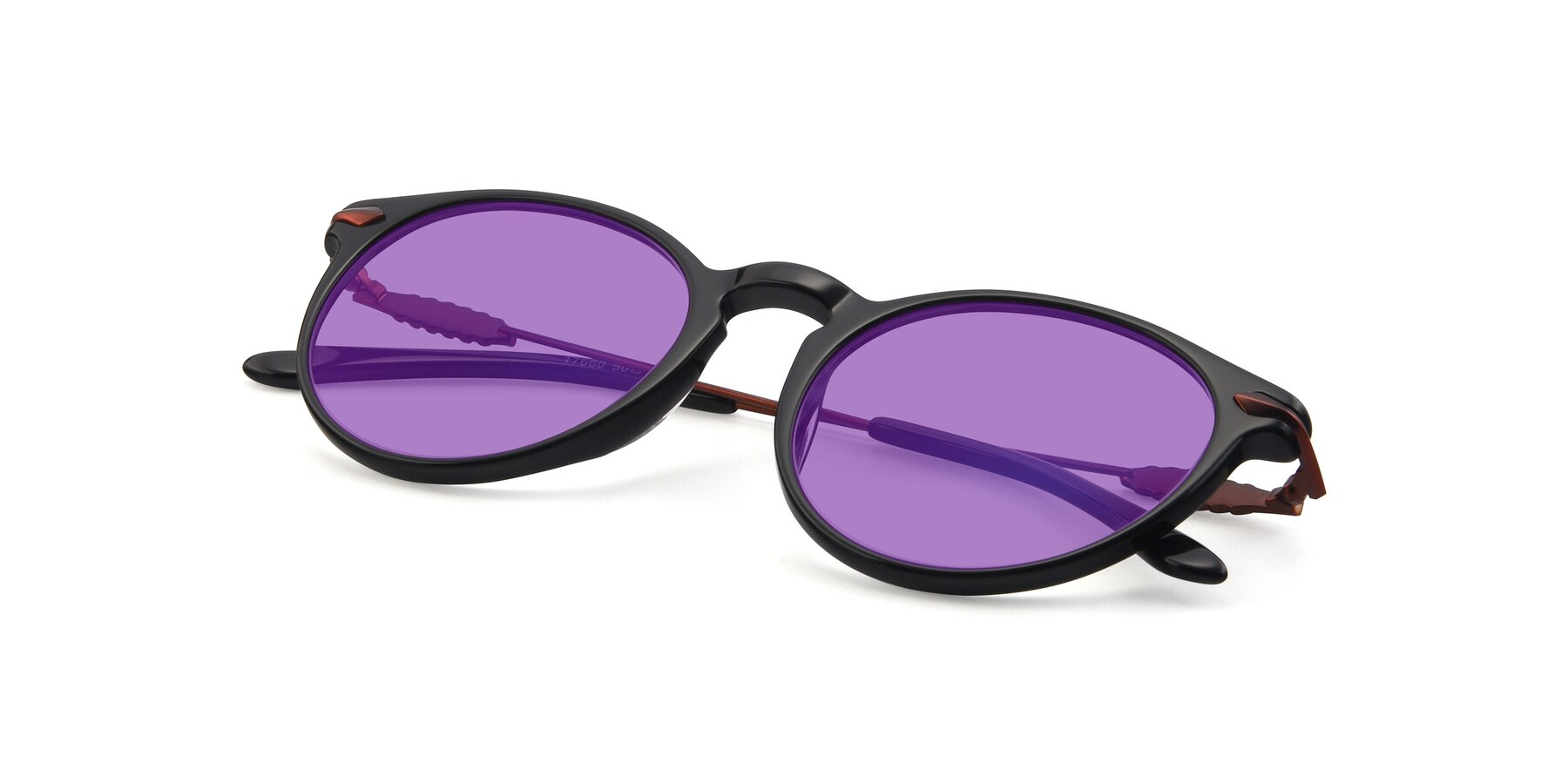 View of 17660 in Black with Medium Purple Tinted Lenses