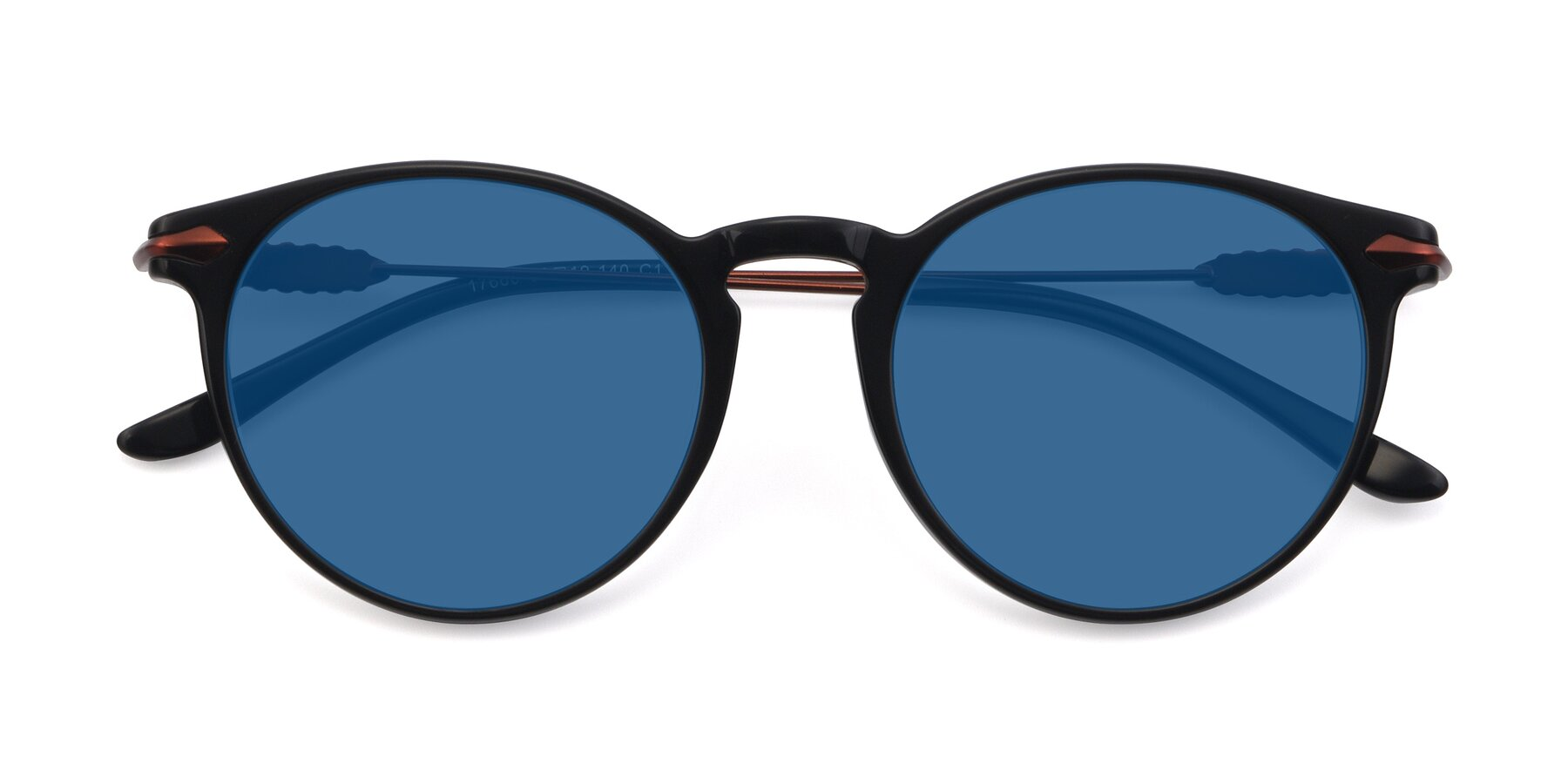Folded Front of 17660 in Black with Blue Tinted Lenses