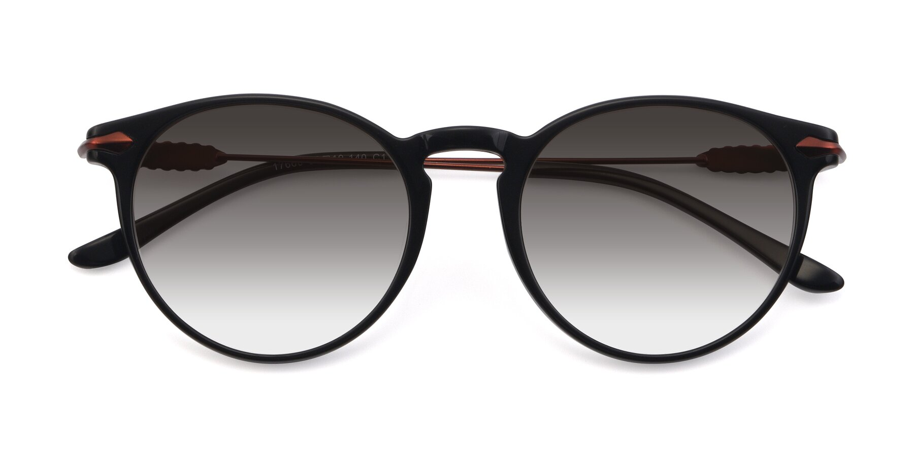 Folded Front of 17660 in Black with Gray Gradient Lenses
