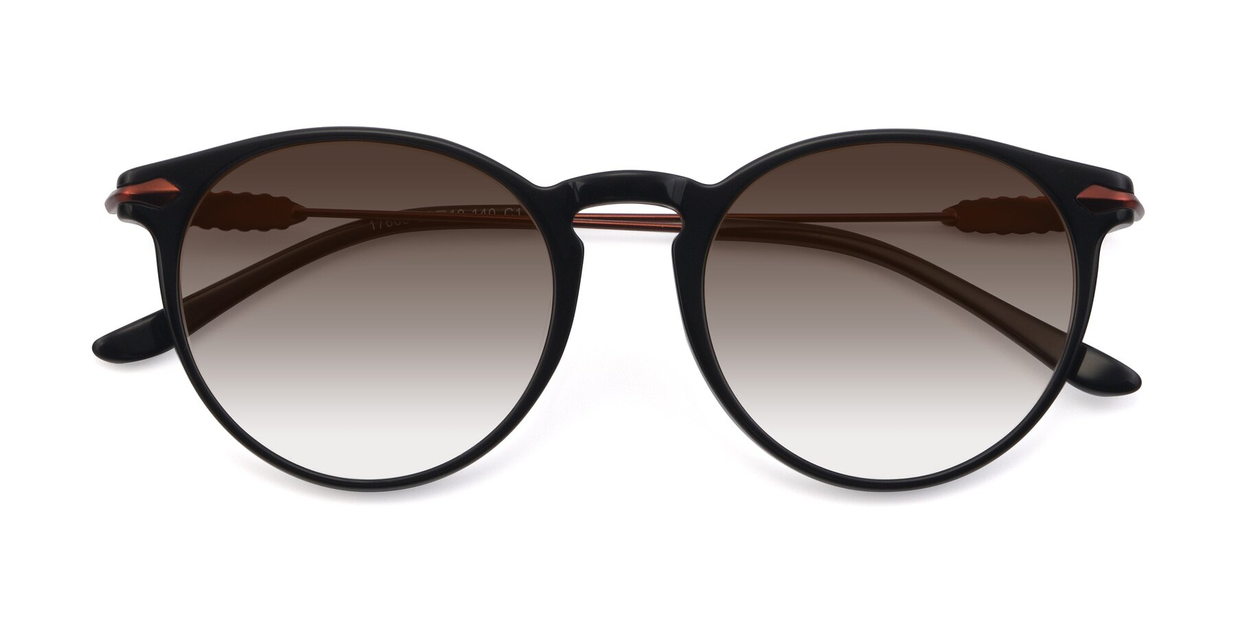 Folded Front of 17660 in Black with Brown Gradient Lenses