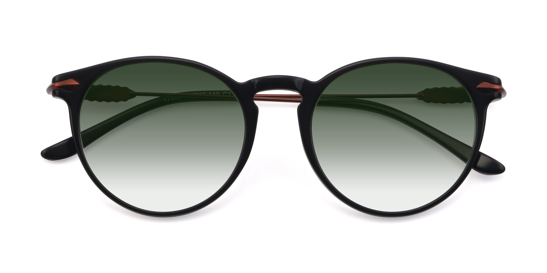 Folded Front of 17660 in Black with Green Gradient Lenses