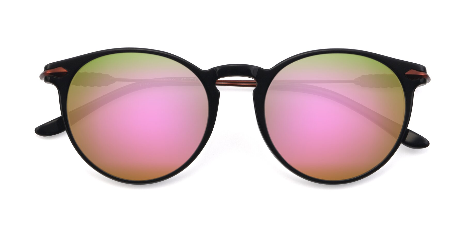 Folded Front of 17660 in Black with Pink Mirrored Lenses