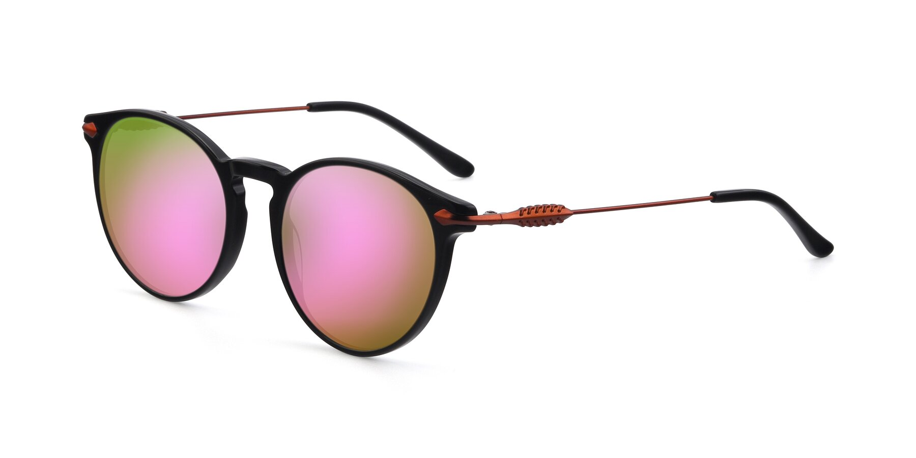 Angle of 17660 in Black with Pink Mirrored Lenses