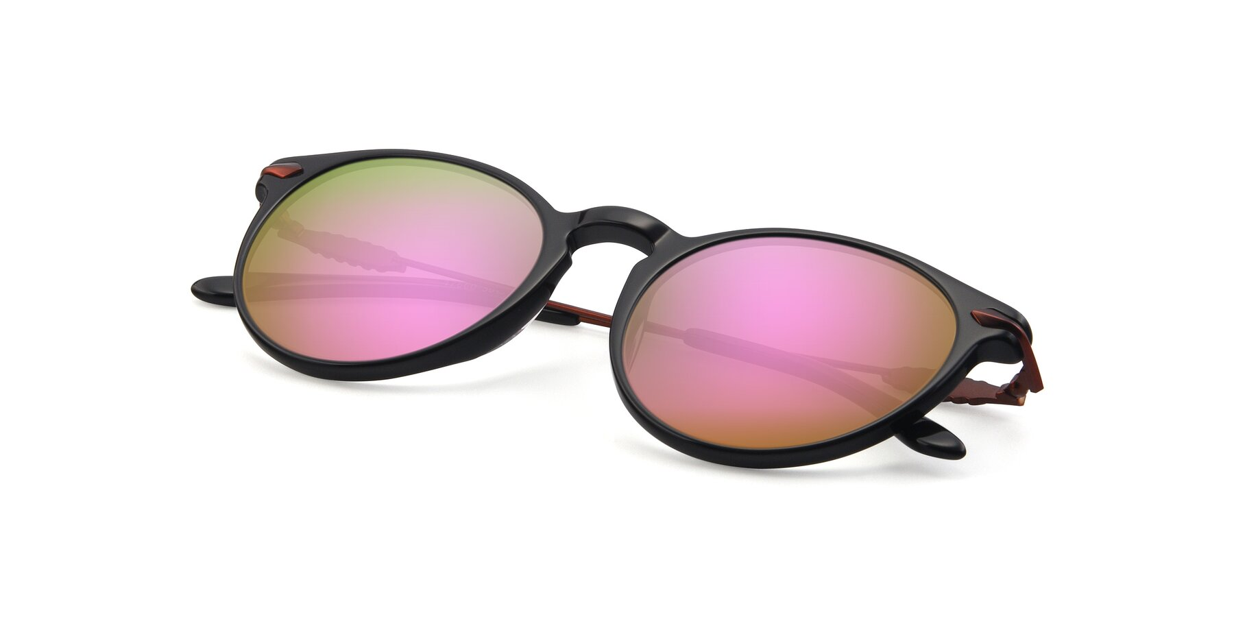 View of 17660 in Black with Pink Mirrored Lenses