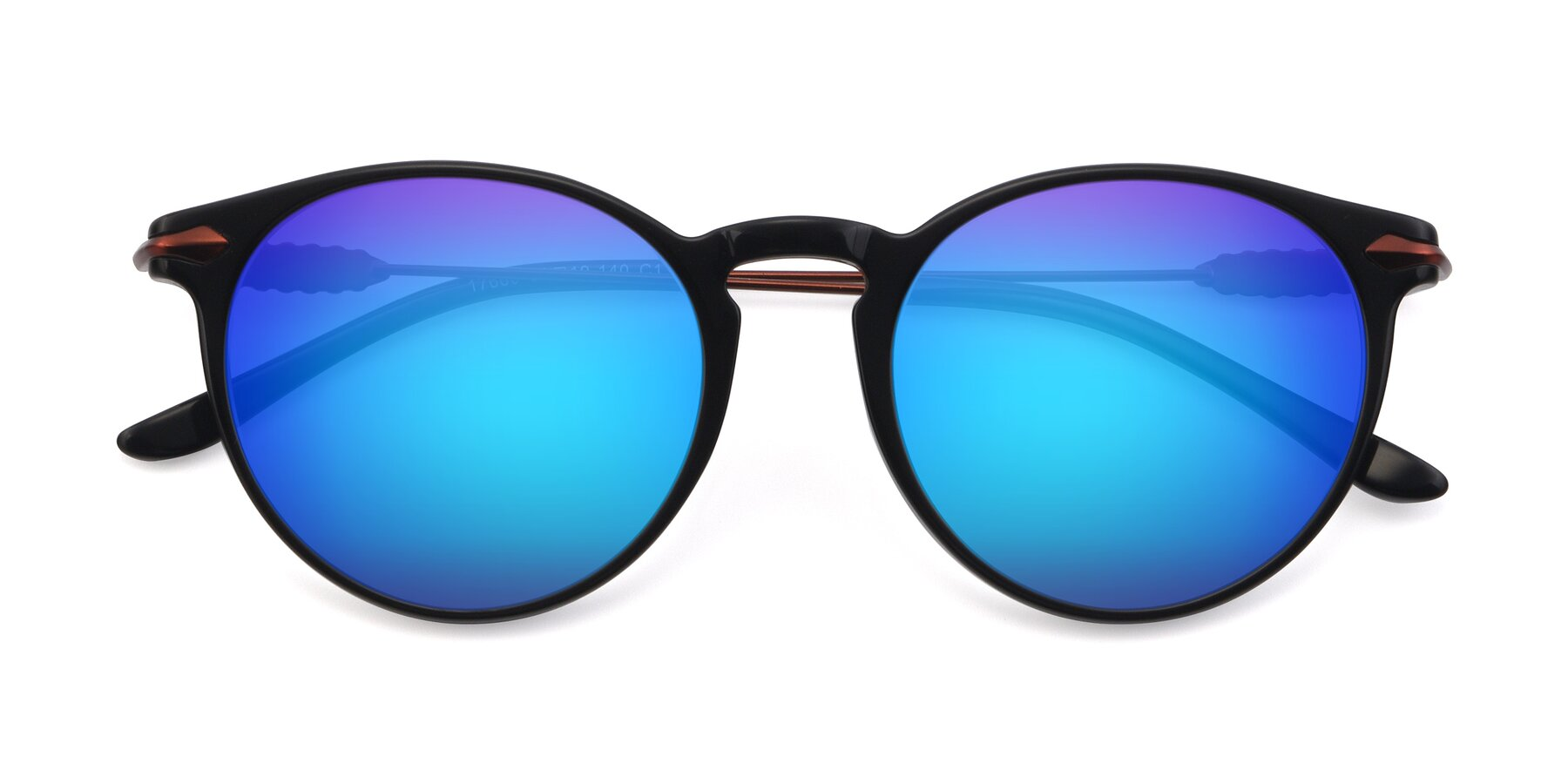 Folded Front of 17660 in Black with Blue Mirrored Lenses