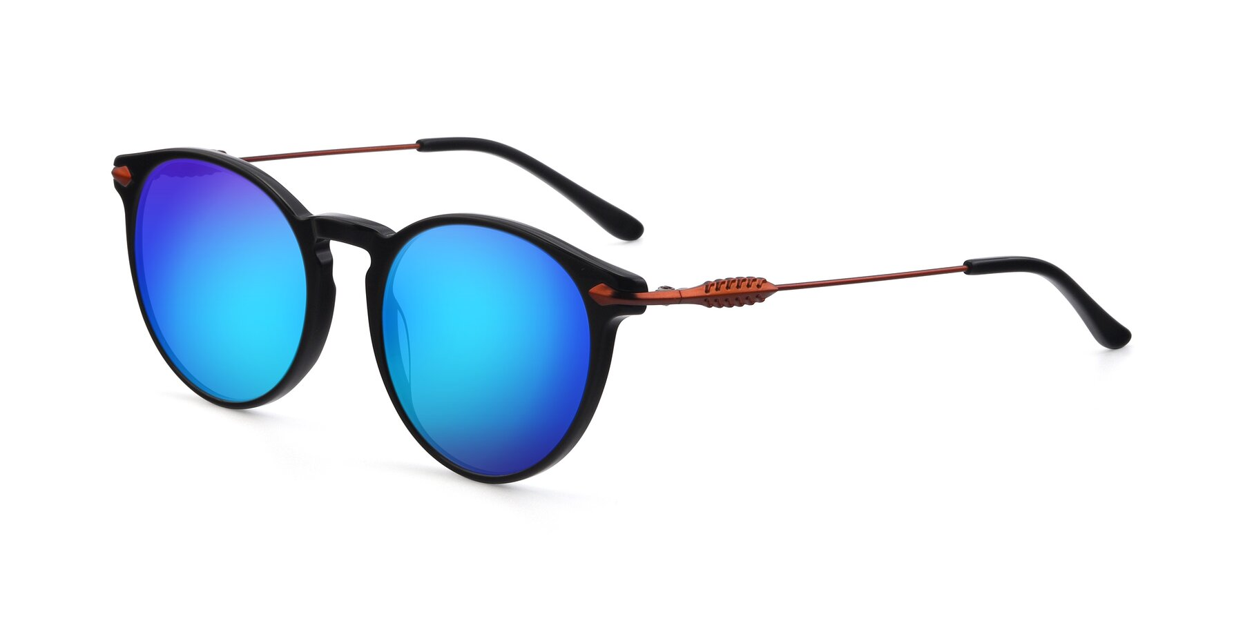 Angle of 17660 in Black with Blue Mirrored Lenses