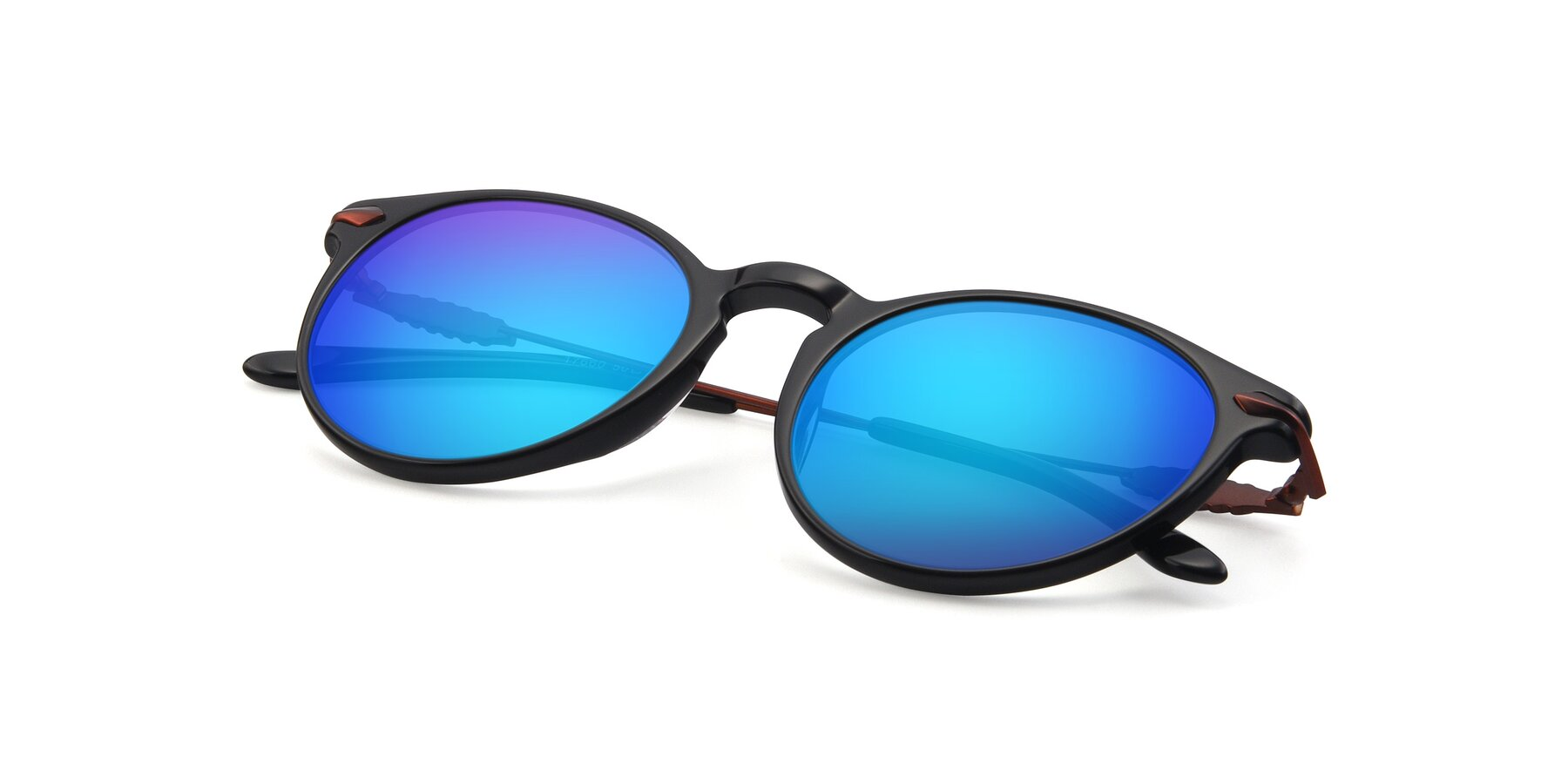 View of 17660 in Black with Blue Mirrored Lenses