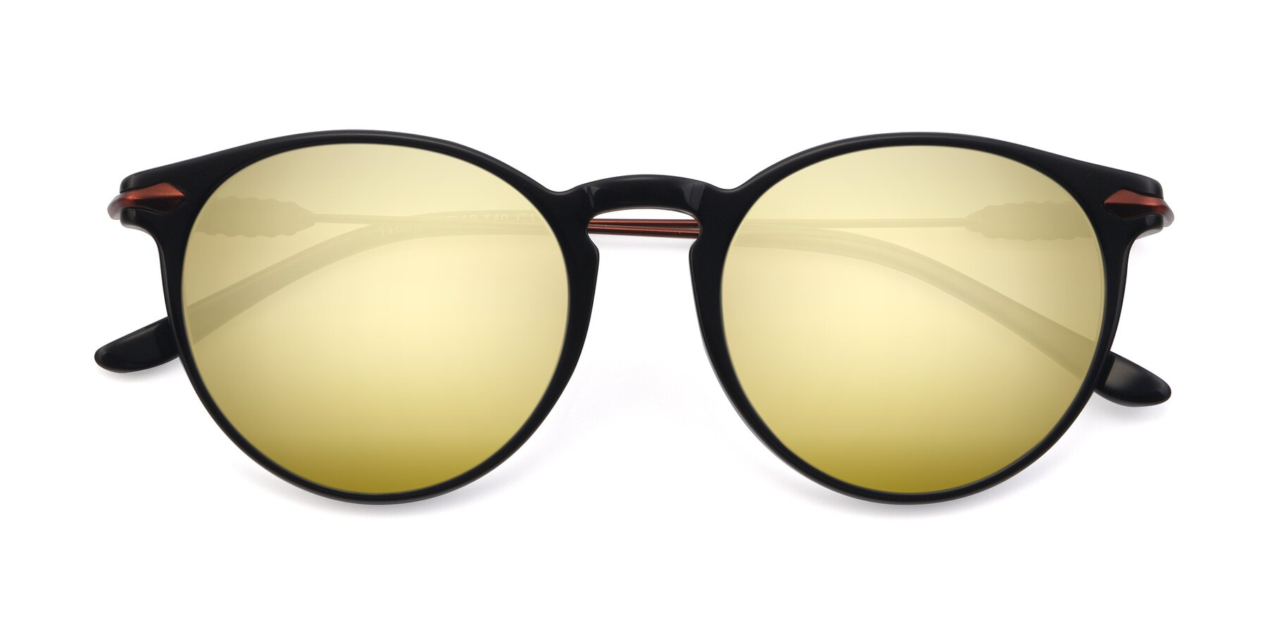 Folded Front of 17660 in Black with Gold Mirrored Lenses
