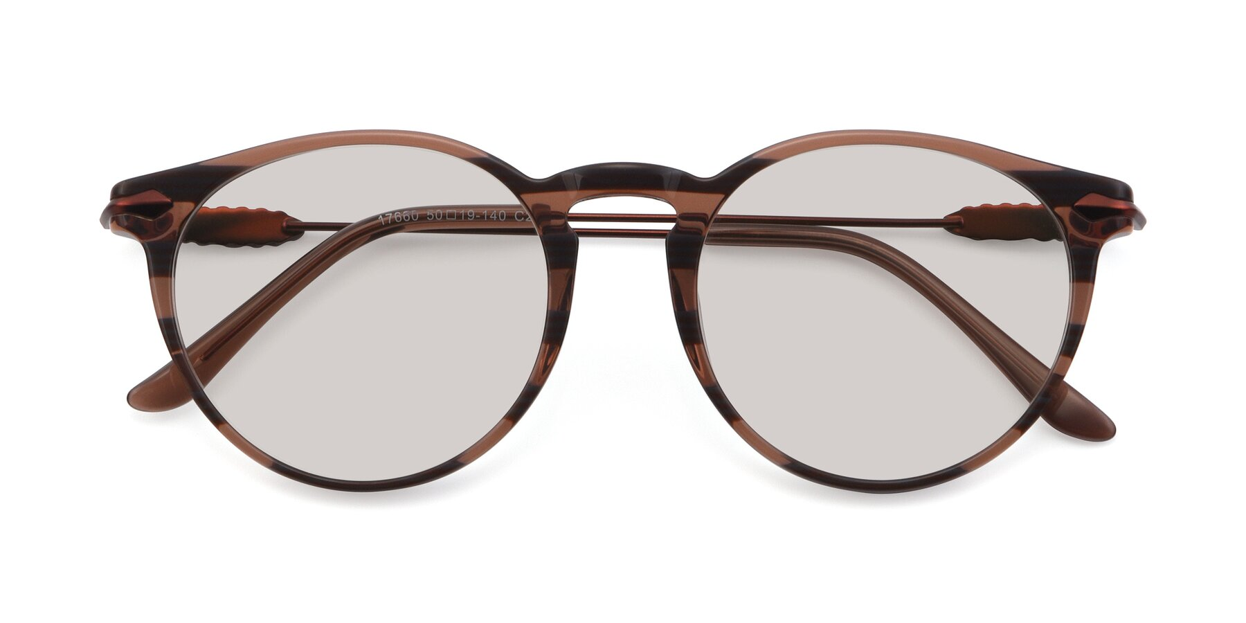 Folded Front of 17660 in Stripe Brown with Light Brown Tinted Lenses