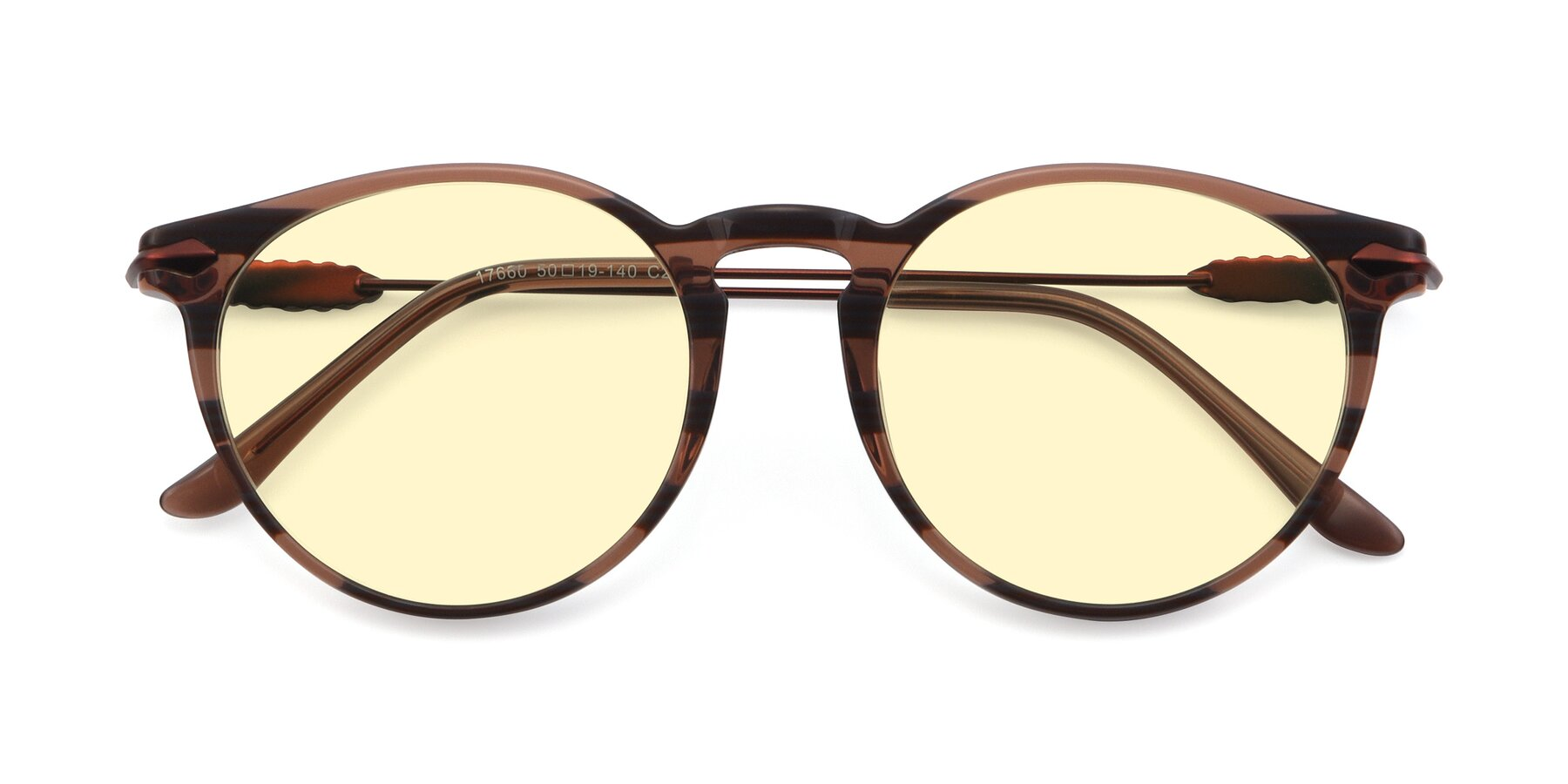 Folded Front of 17660 in Stripe Brown with Light Yellow Tinted Lenses