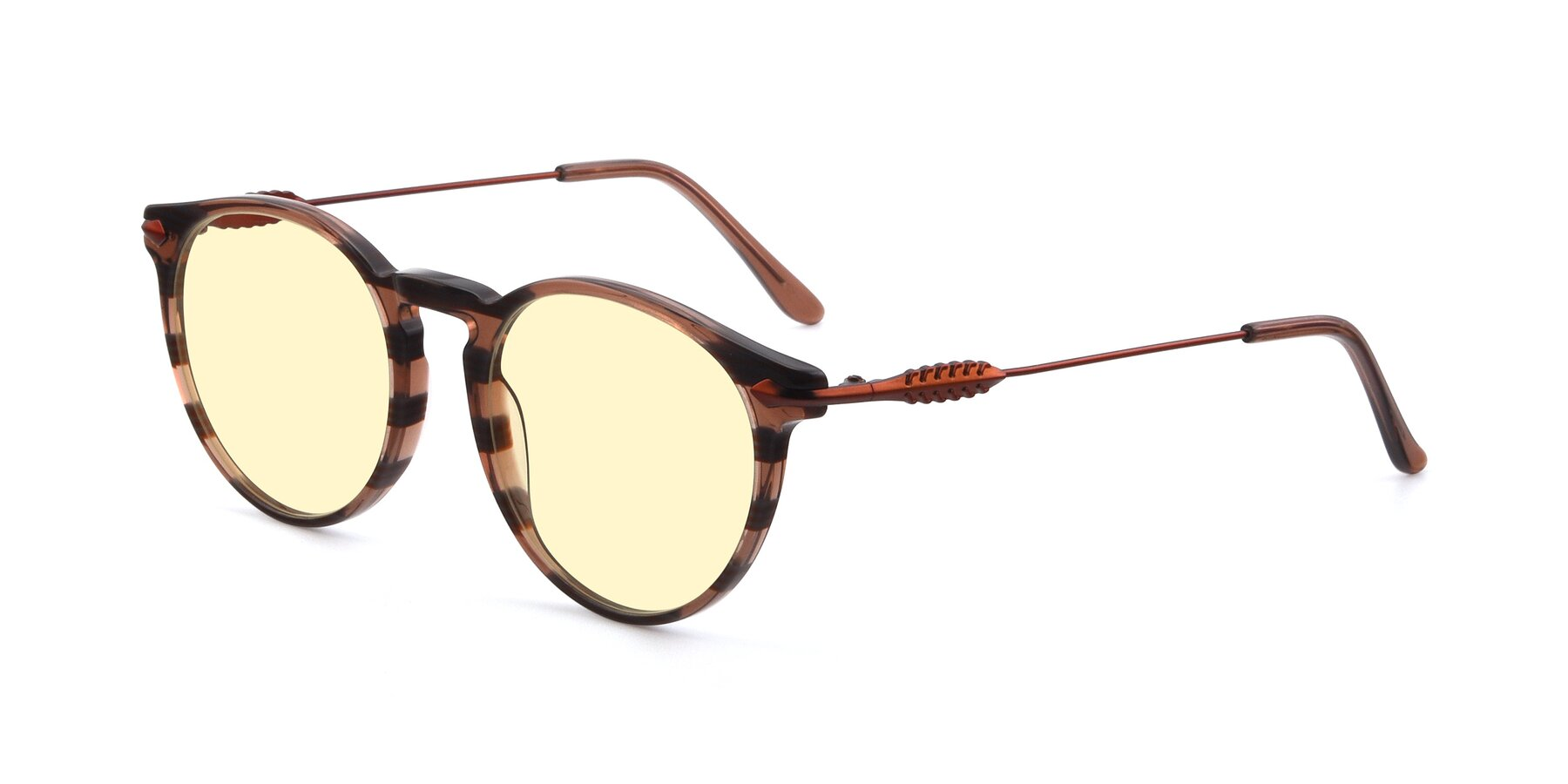 Angle of 17660 in Stripe Brown with Light Yellow Tinted Lenses