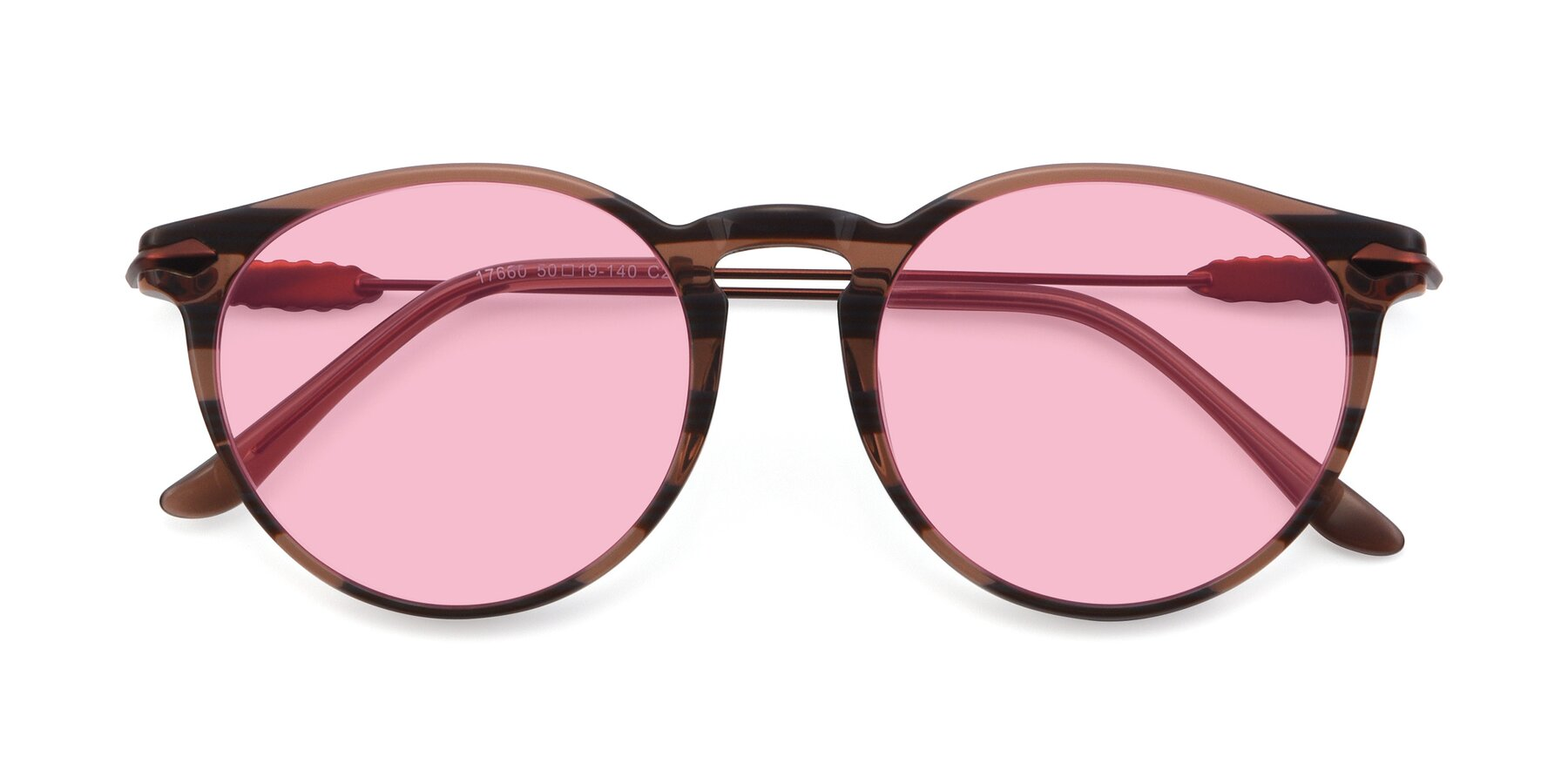 Folded Front of 17660 in Stripe Brown with Medium Pink Tinted Lenses