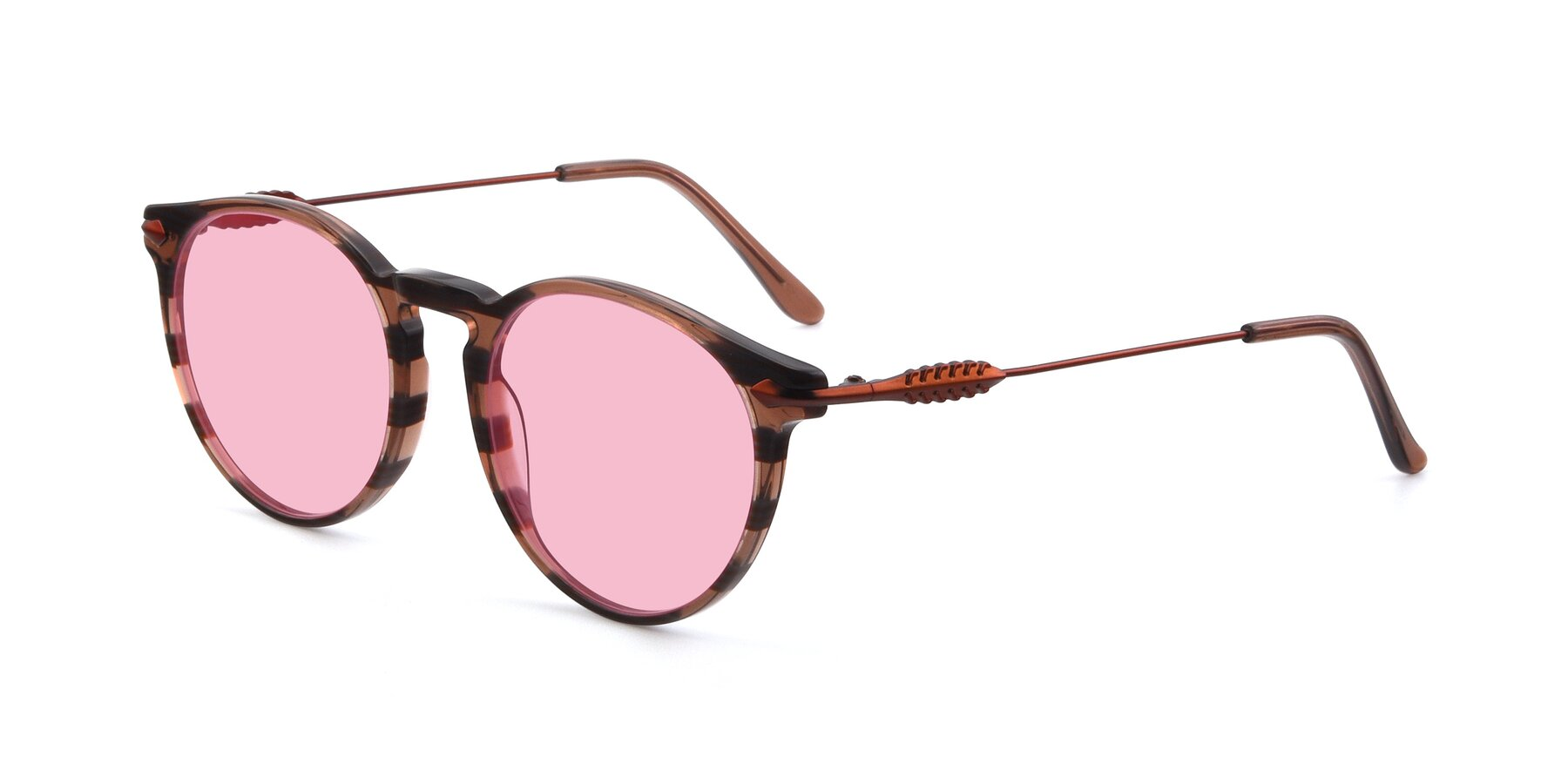Angle of 17660 in Stripe Brown with Medium Pink Tinted Lenses