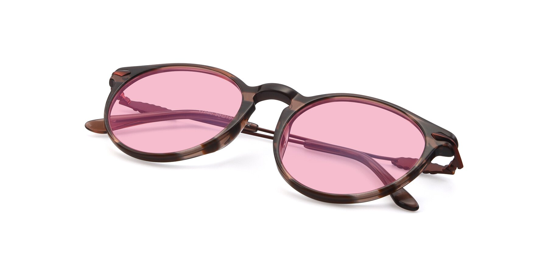 View of 17660 in Stripe Brown with Medium Pink Tinted Lenses