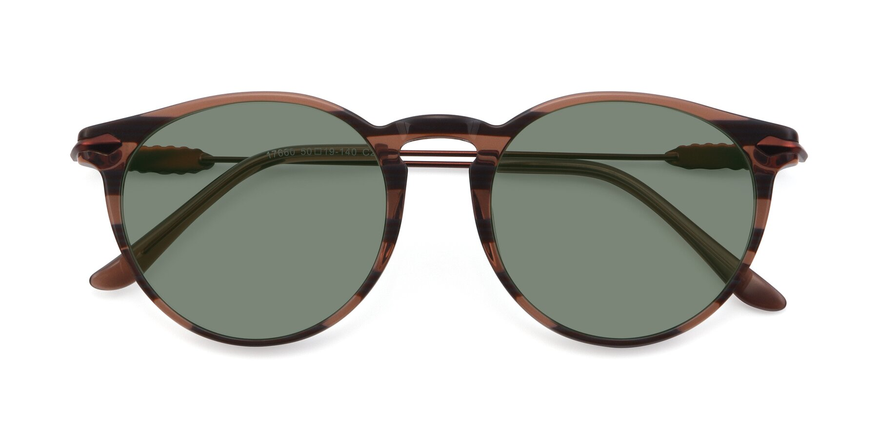 Folded Front of 17660 in Stripe Brown with Medium Green Tinted Lenses