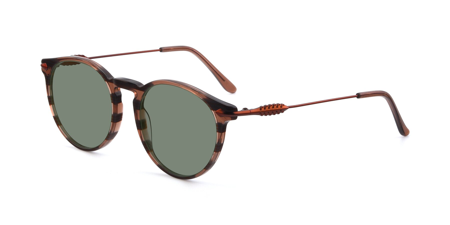 Angle of 17660 in Stripe Brown with Medium Green Tinted Lenses