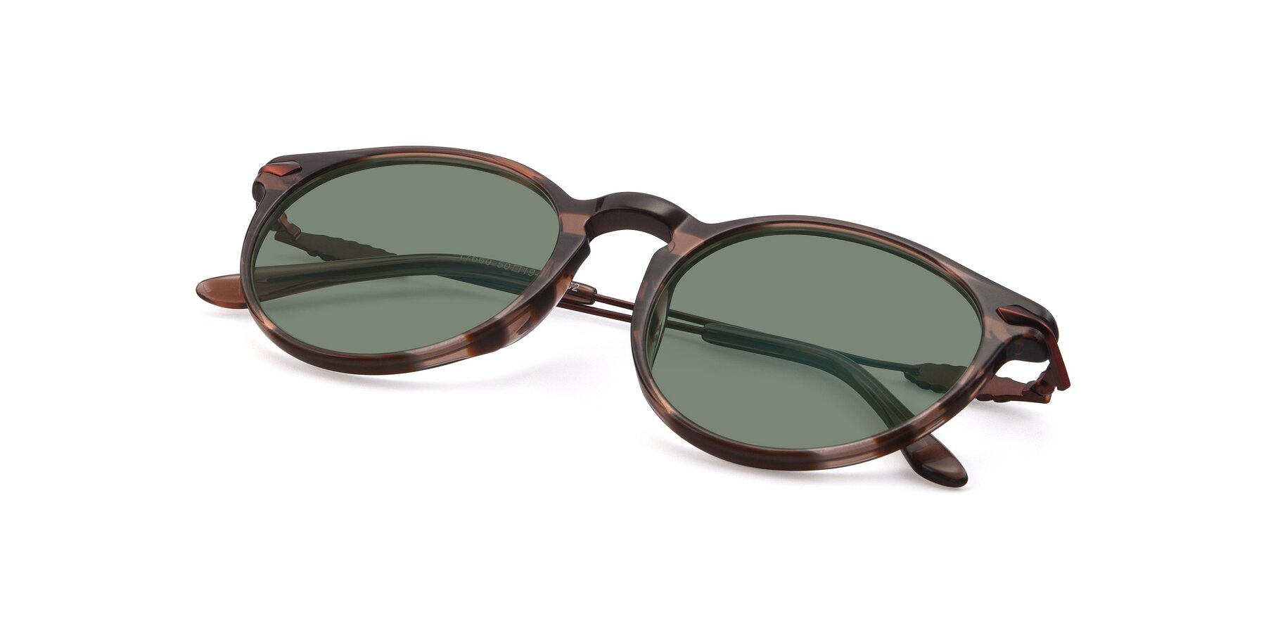 View of 17660 in Stripe Brown with Medium Green Tinted Lenses