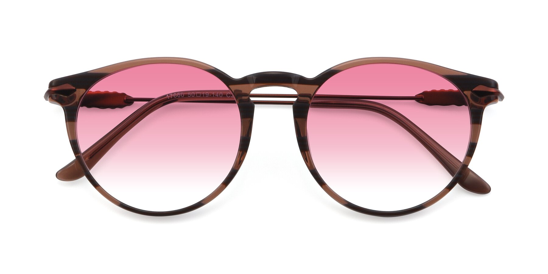 Folded Front of 17660 in Stripe Brown with Pink Gradient Lenses