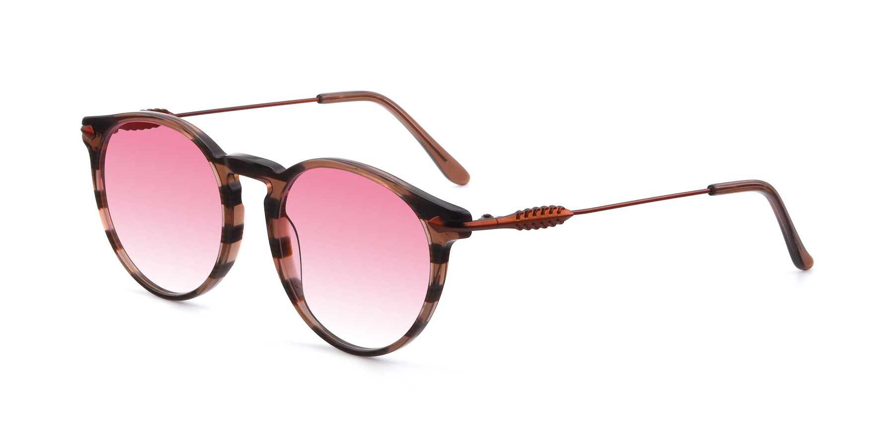 Angle of 17660 in Stripe Brown with Pink Gradient Lenses