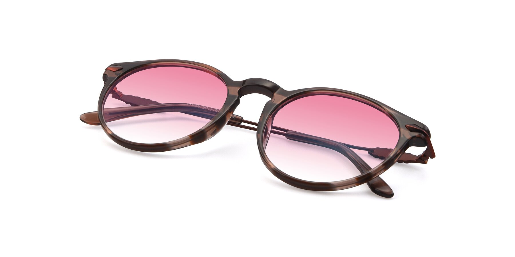 View of 17660 in Stripe Brown with Pink Gradient Lenses