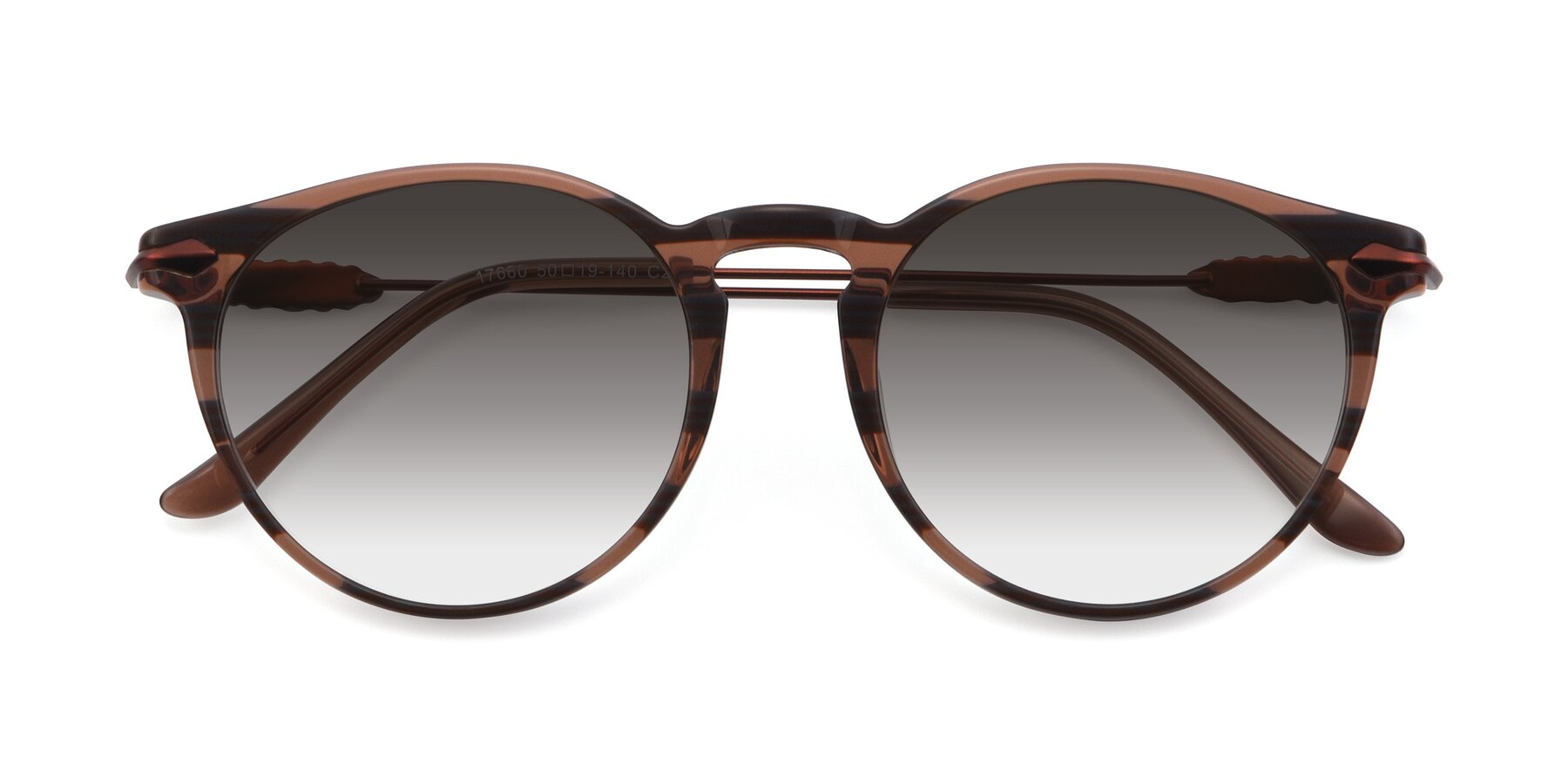 Folded Front of 17660 in Stripe Brown with Gray Gradient Lenses