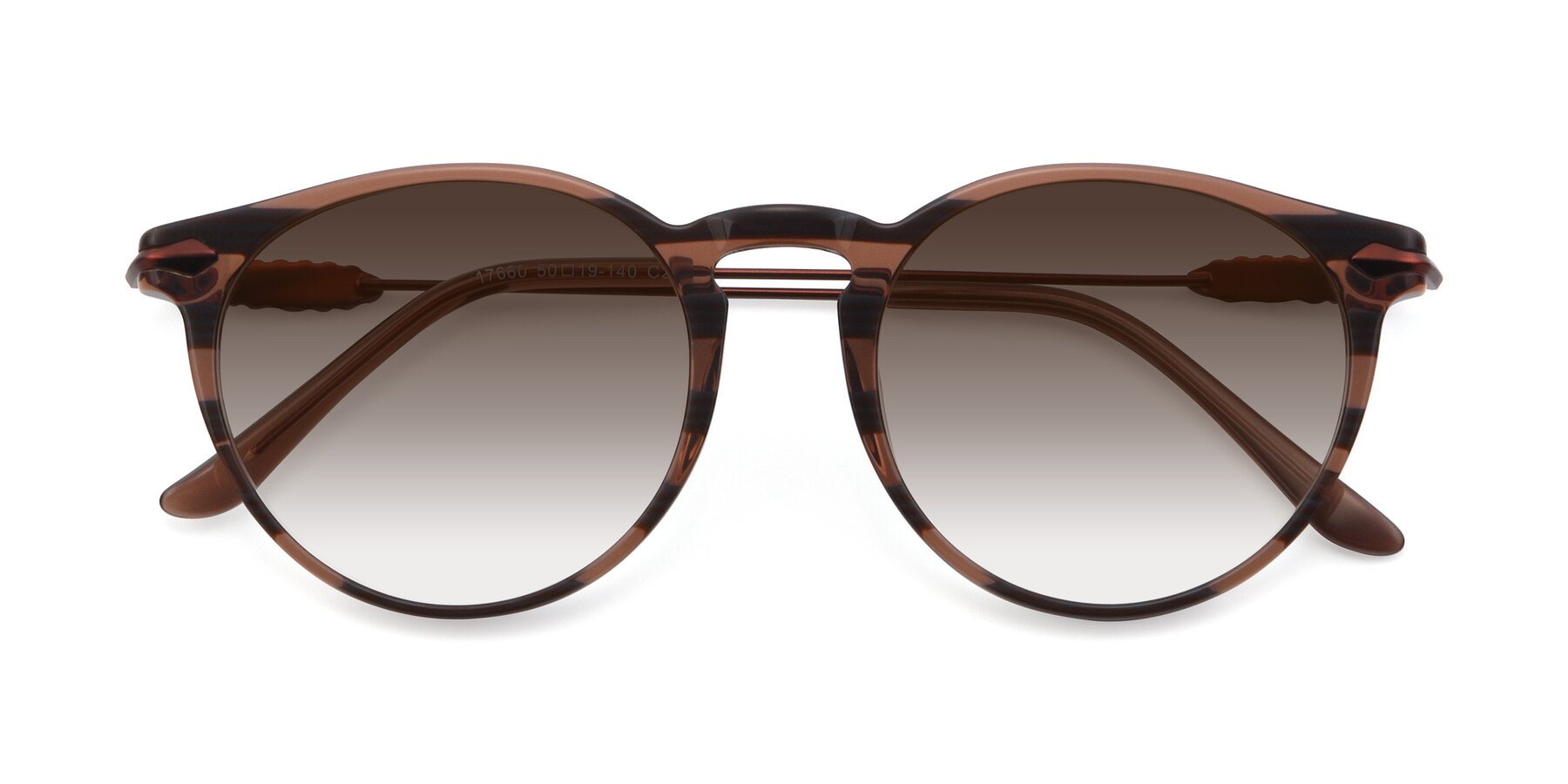 Folded Front of 17660 in Stripe Brown with Brown Gradient Lenses