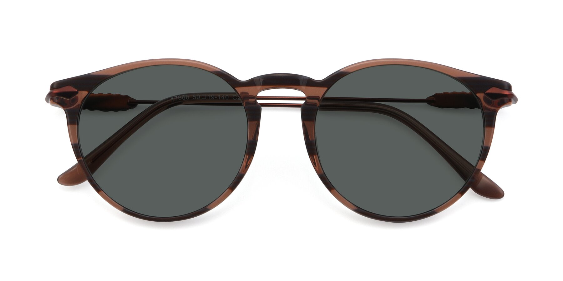 Folded Front of 17660 in Stripe Brown with Gray Polarized Lenses