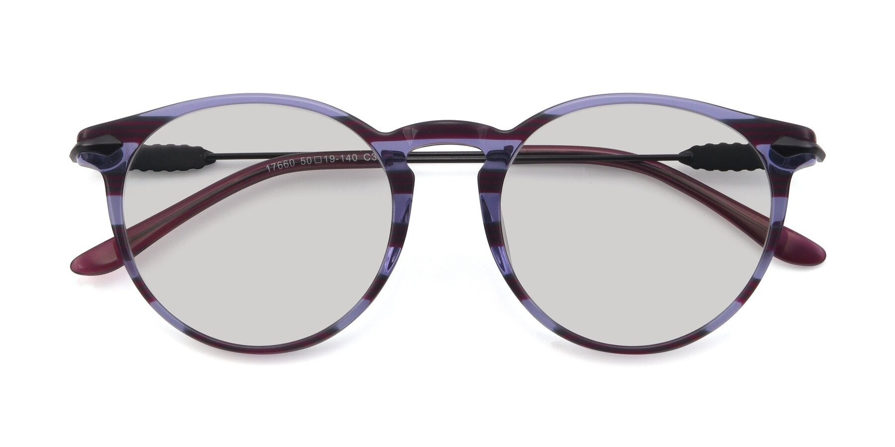 Folded Front of 17660 in Stripe Purple with Light Gray Tinted Lenses
