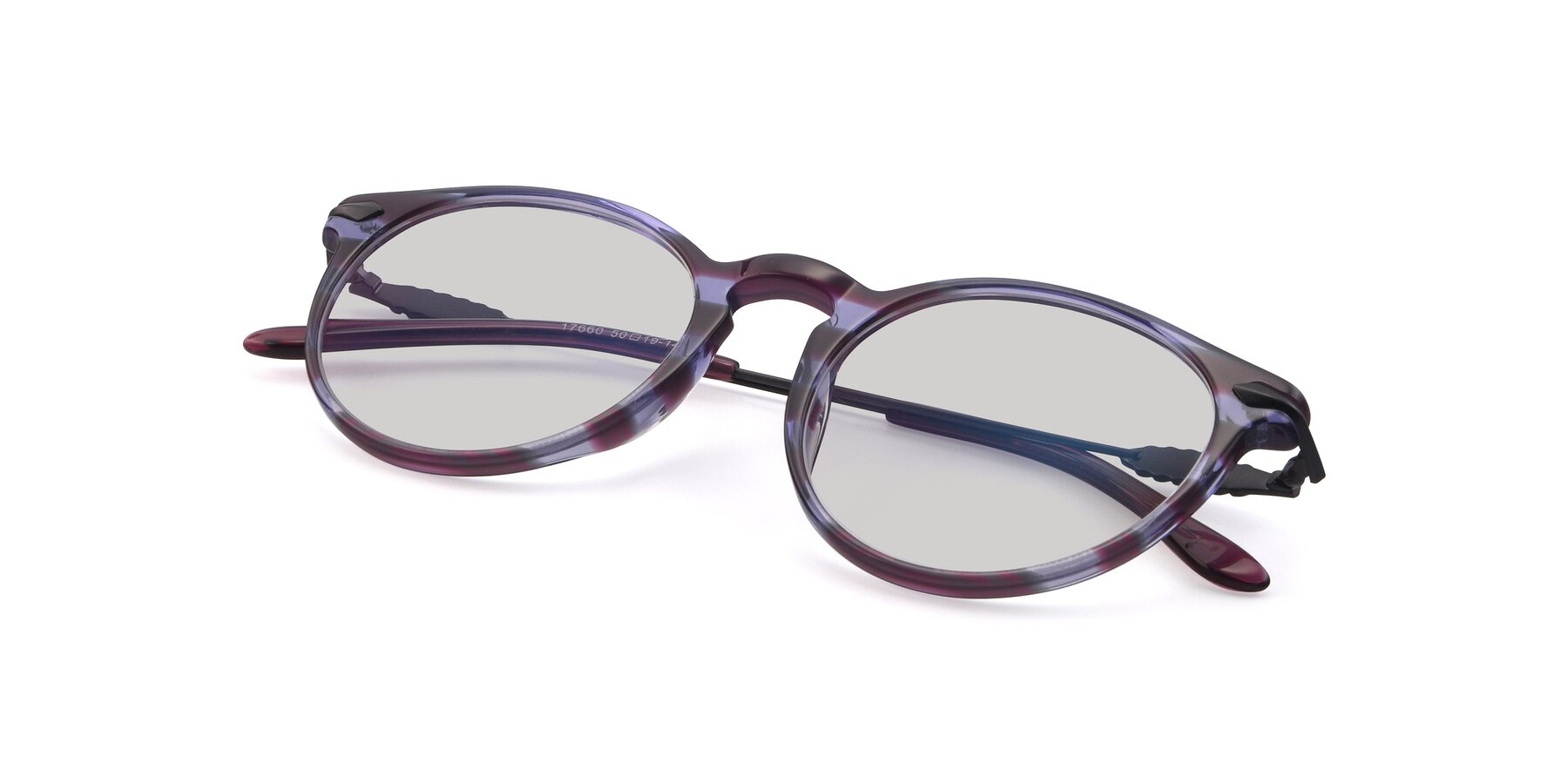 View of 17660 in Stripe Purple with Light Gray Tinted Lenses