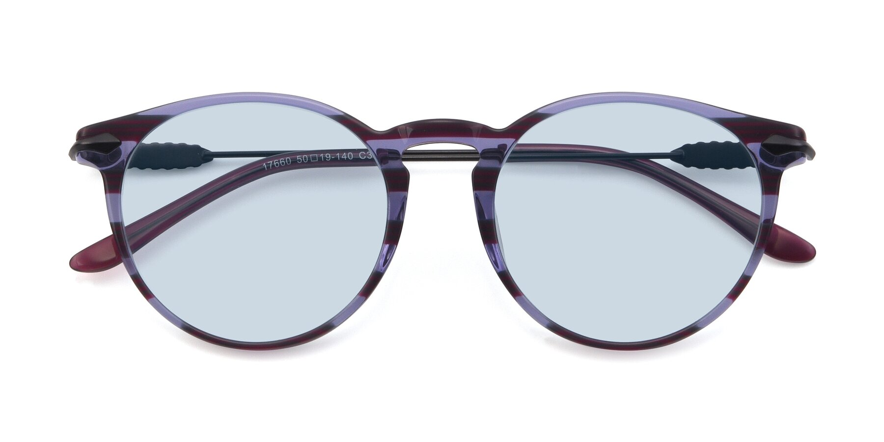 Folded Front of 17660 in Stripe Purple with Light Blue Tinted Lenses