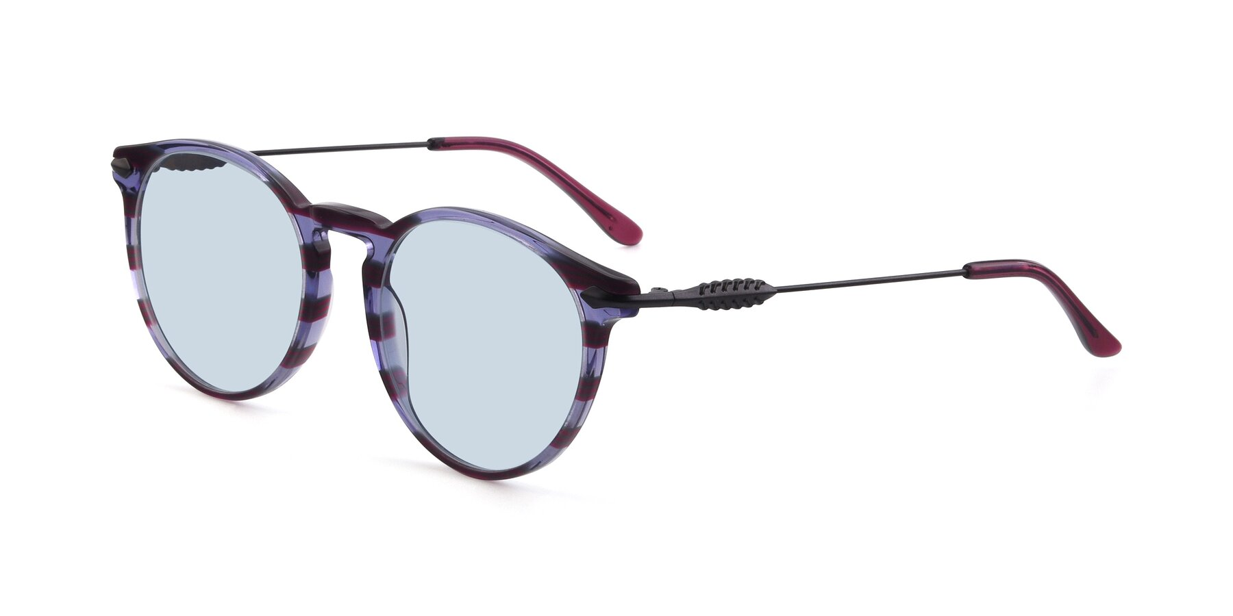 Angle of 17660 in Stripe Purple with Light Blue Tinted Lenses