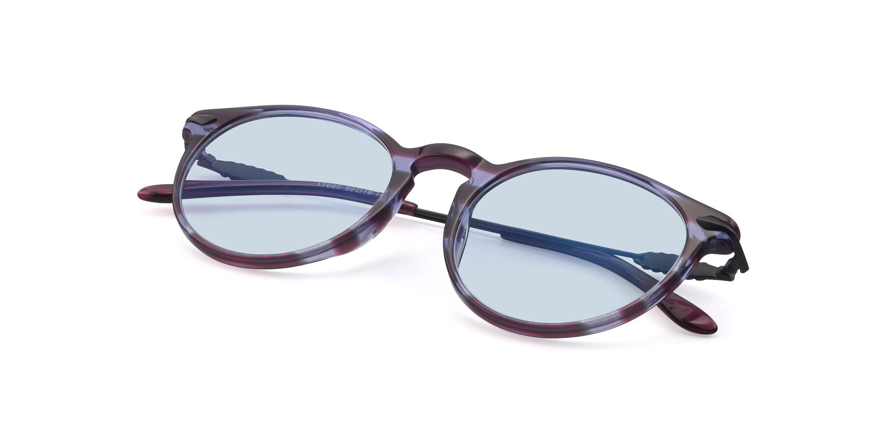 View of 17660 in Stripe Purple with Light Blue Tinted Lenses