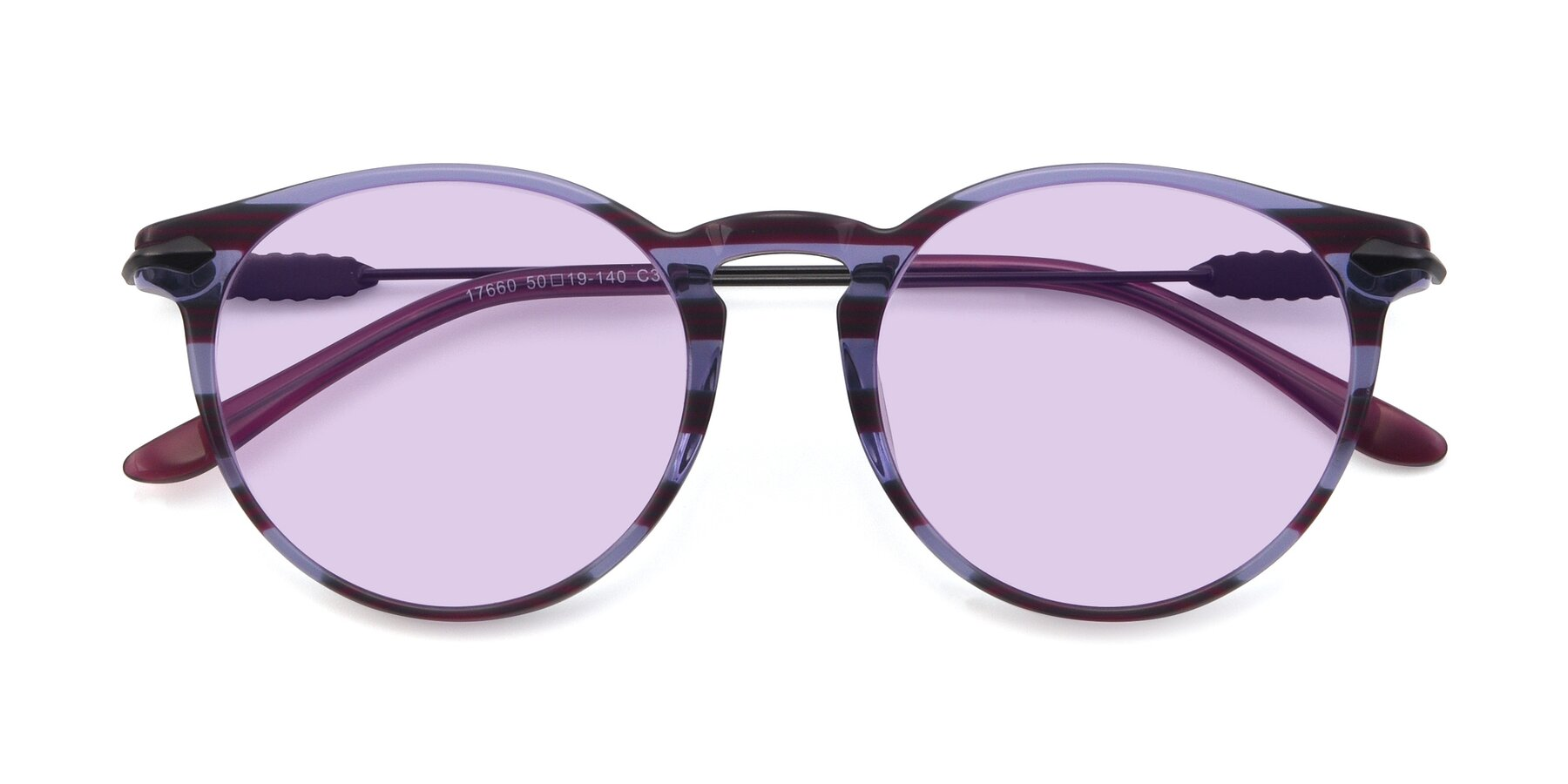 Folded Front of 17660 in Stripe Purple with Light Purple Tinted Lenses
