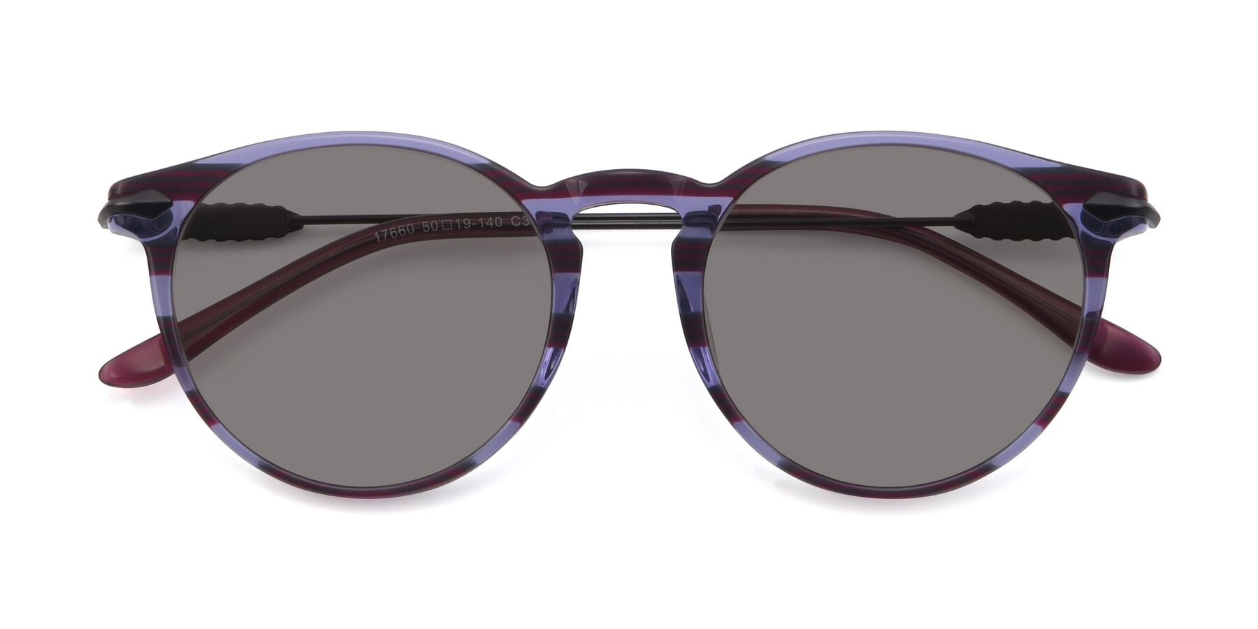 Folded Front of 17660 in Stripe Purple with Medium Gray Tinted Lenses