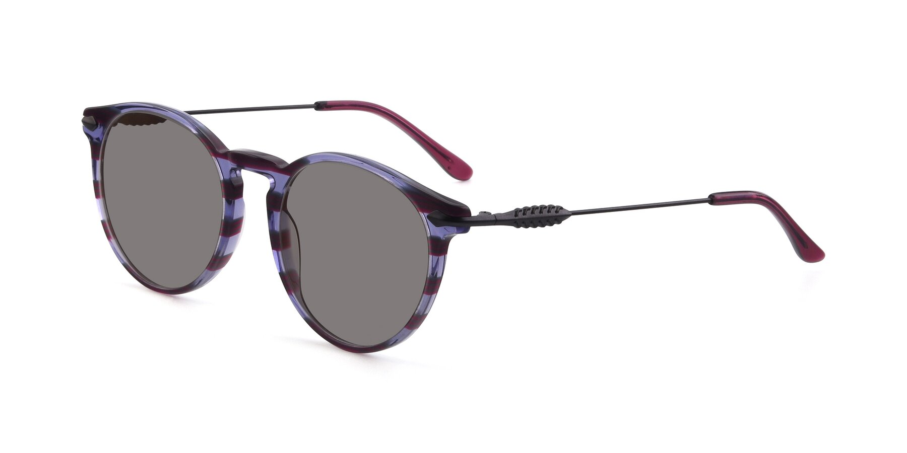 Angle of 17660 in Stripe Purple with Medium Gray Tinted Lenses